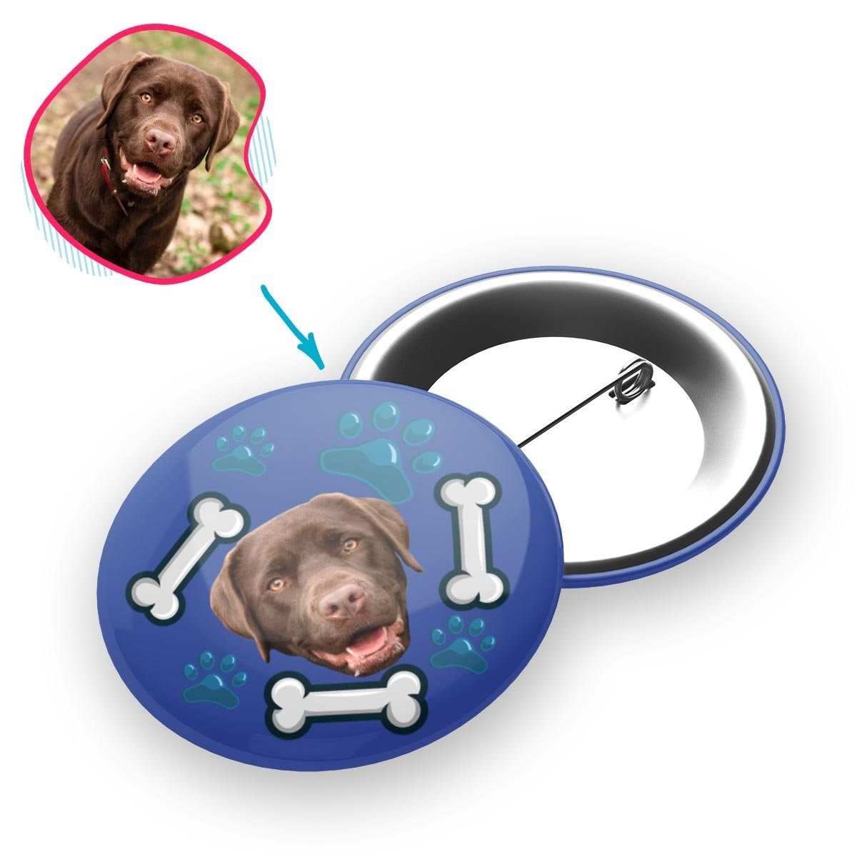 darkblue Dog pin personalized with photo of face printed on it