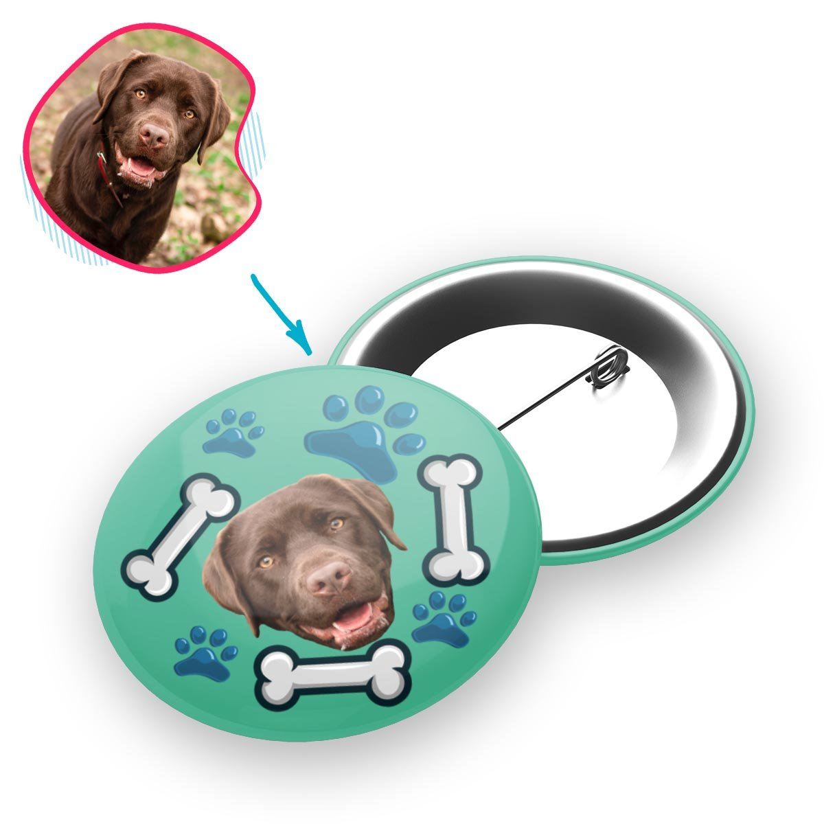 mint Dog pin personalized with photo of face printed on it