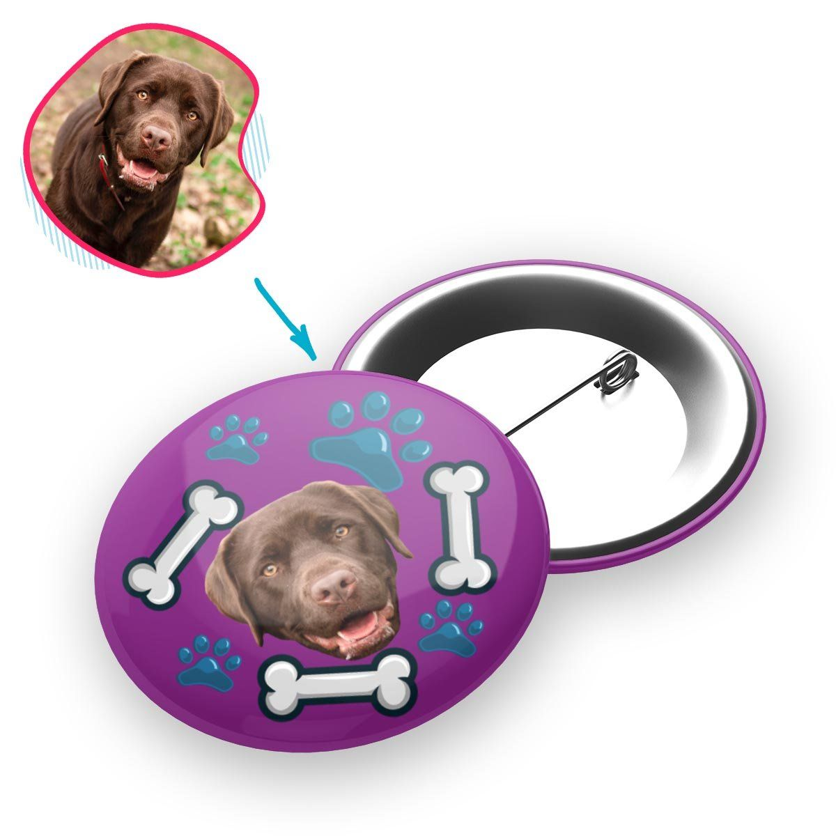 purple Dog pin personalized with photo of face printed on it
