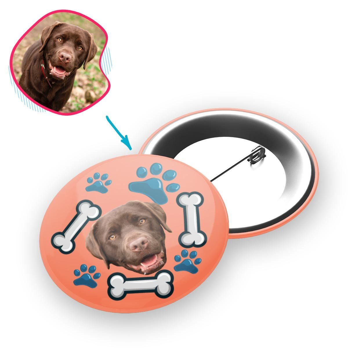 salmon Dog pin personalized with photo of face printed on it