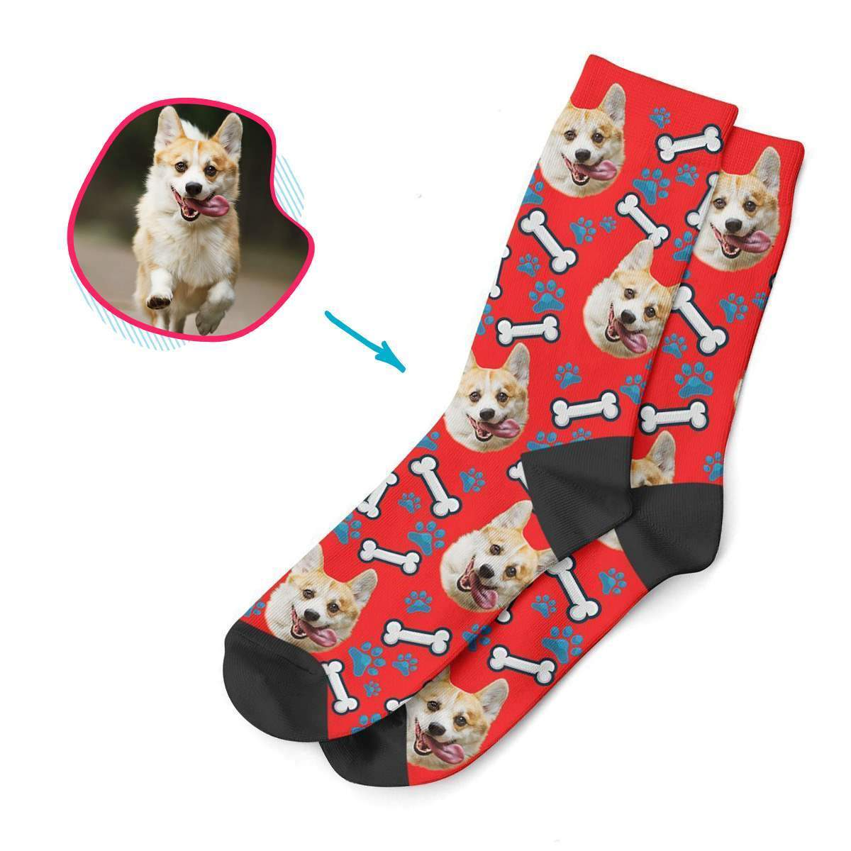 red Dog socks personalized with photo of face printed on them