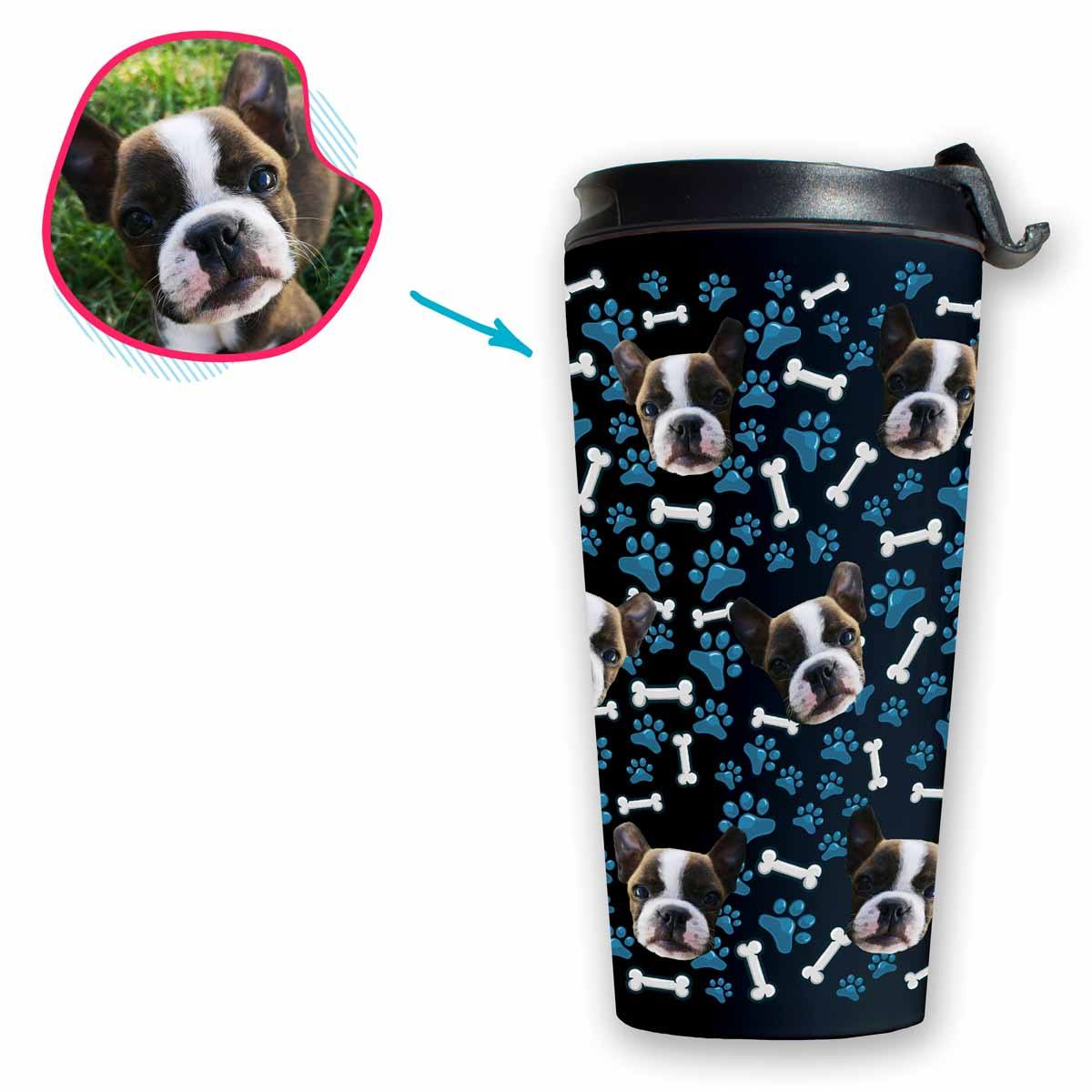 dark Dog travel mug personalized with photo of face printed on it