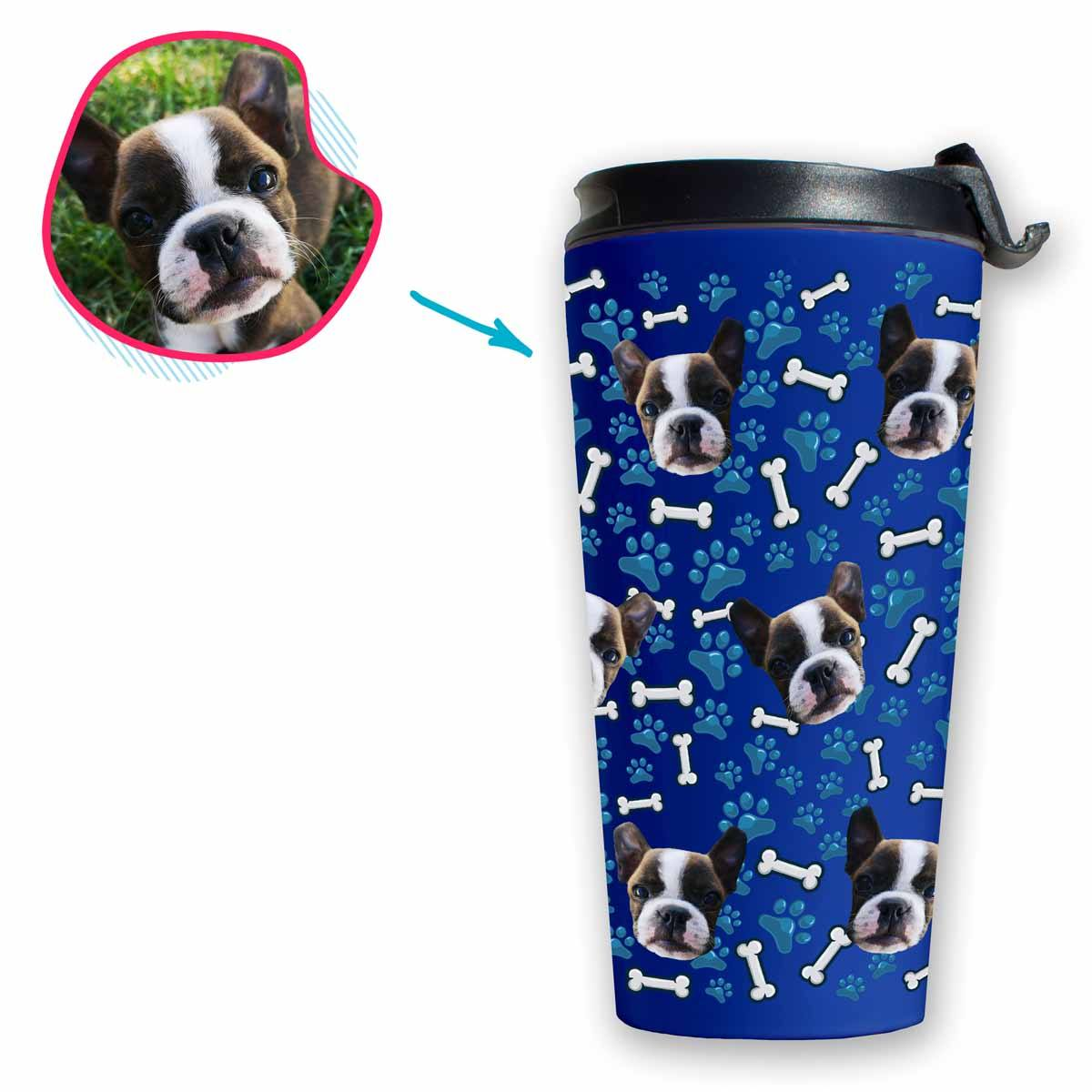darkblue Dog travel mug personalized with photo of face printed on it