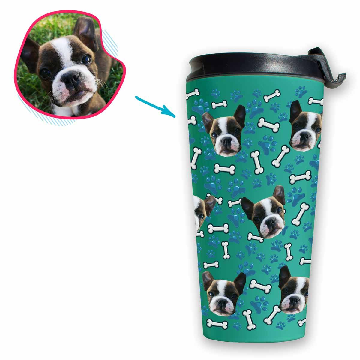 mint Dog travel mug personalized with photo of face printed on it
