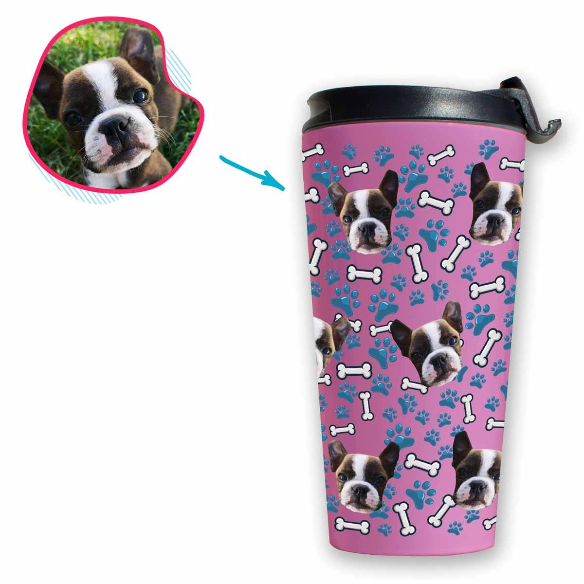 pink Dog travel mug personalized with photo of face printed on it