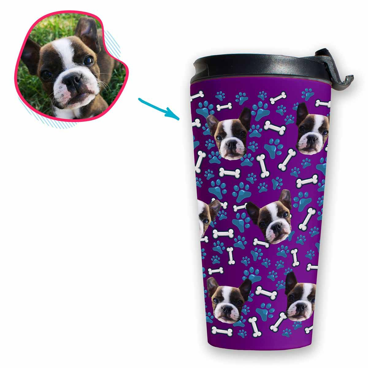 purple Dog travel mug personalized with photo of face printed on it