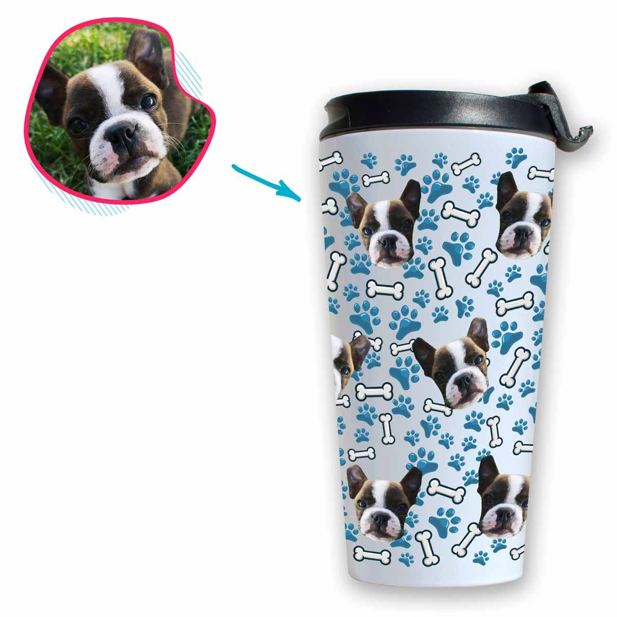 white Dog travel mug personalized with photo of face printed on it