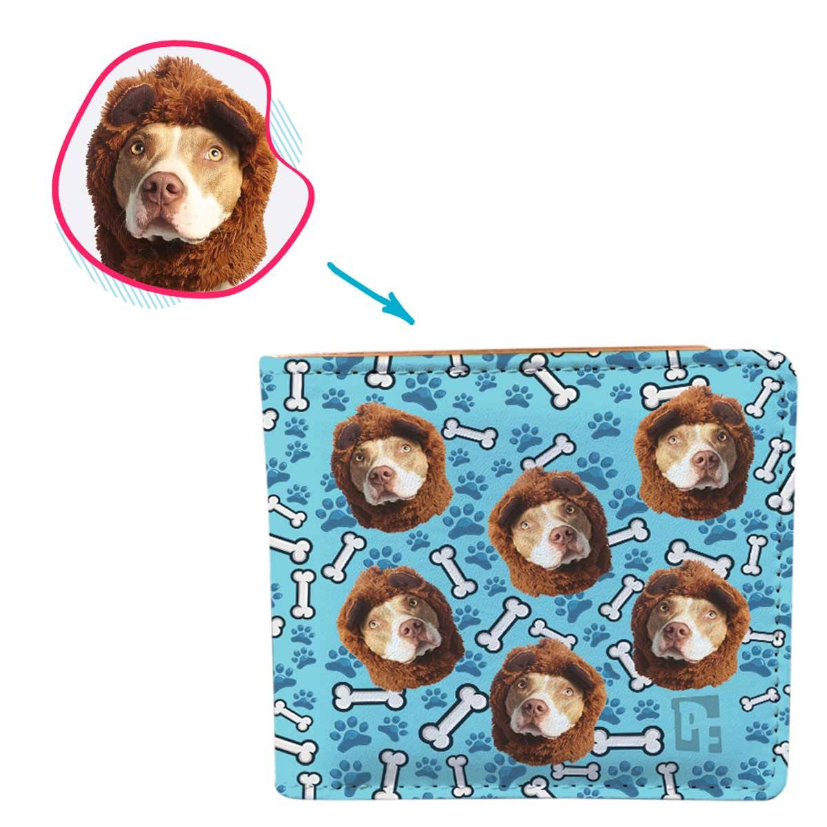 blue Dog wallet personalized with photo of face printed on it