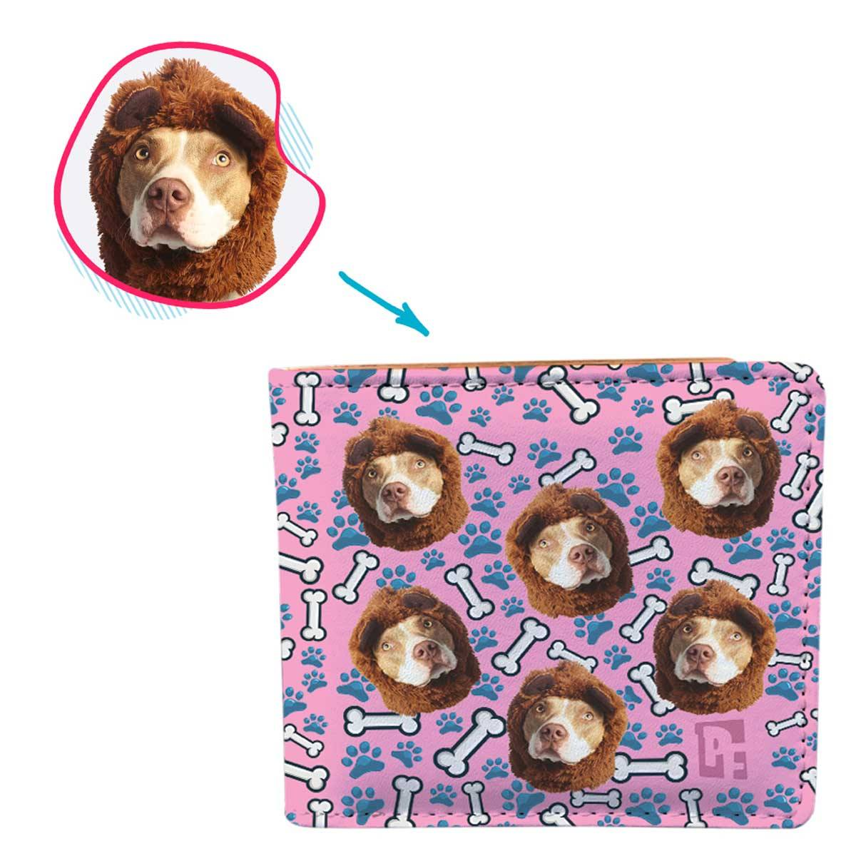 pink Dog wallet personalized with photo of face printed on it