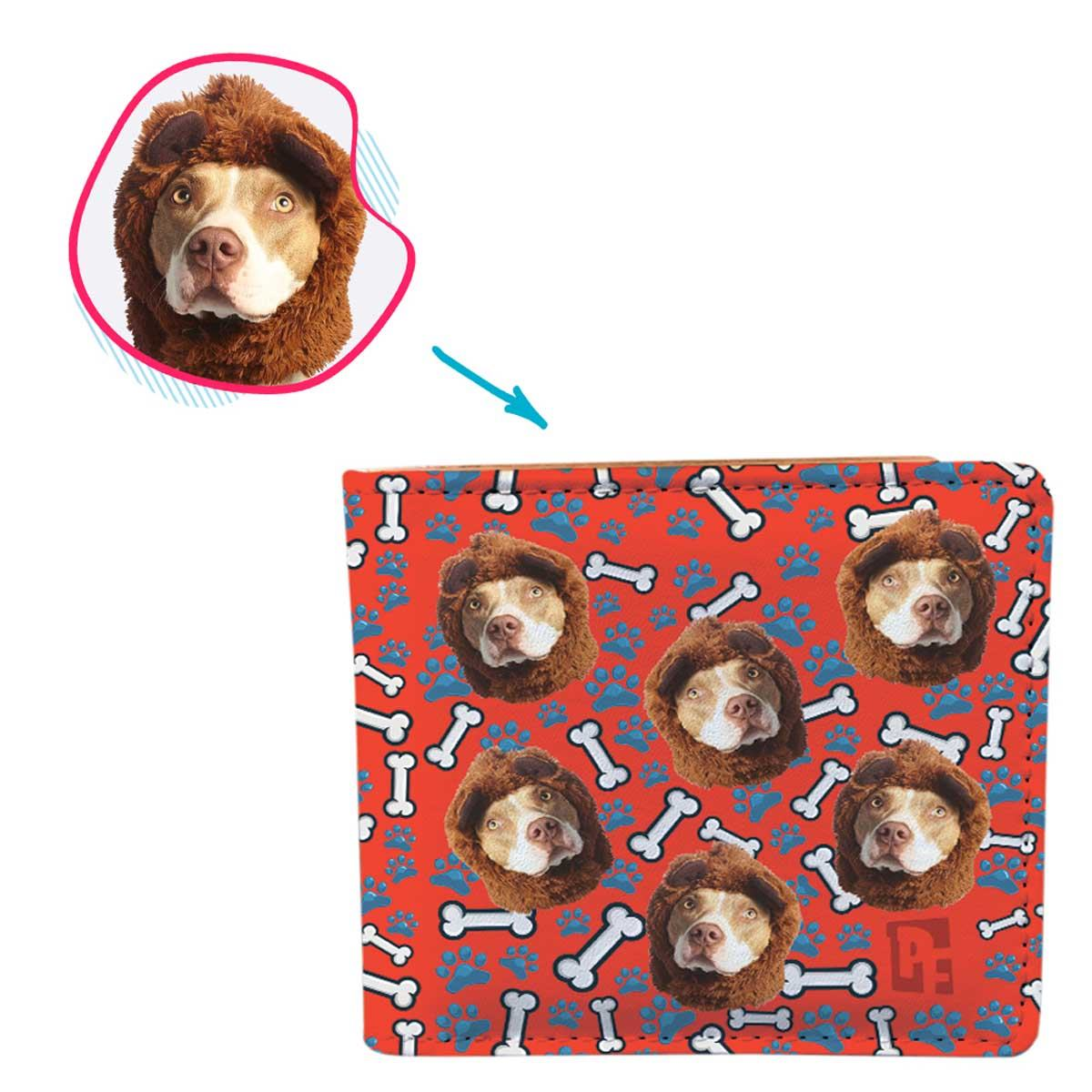 red Dog wallet personalized with photo of face printed on it