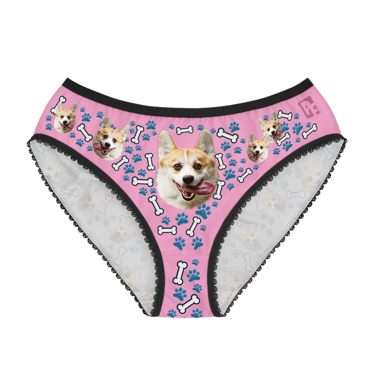 Red Dog women's underwear briefs personalized with photo printed on them