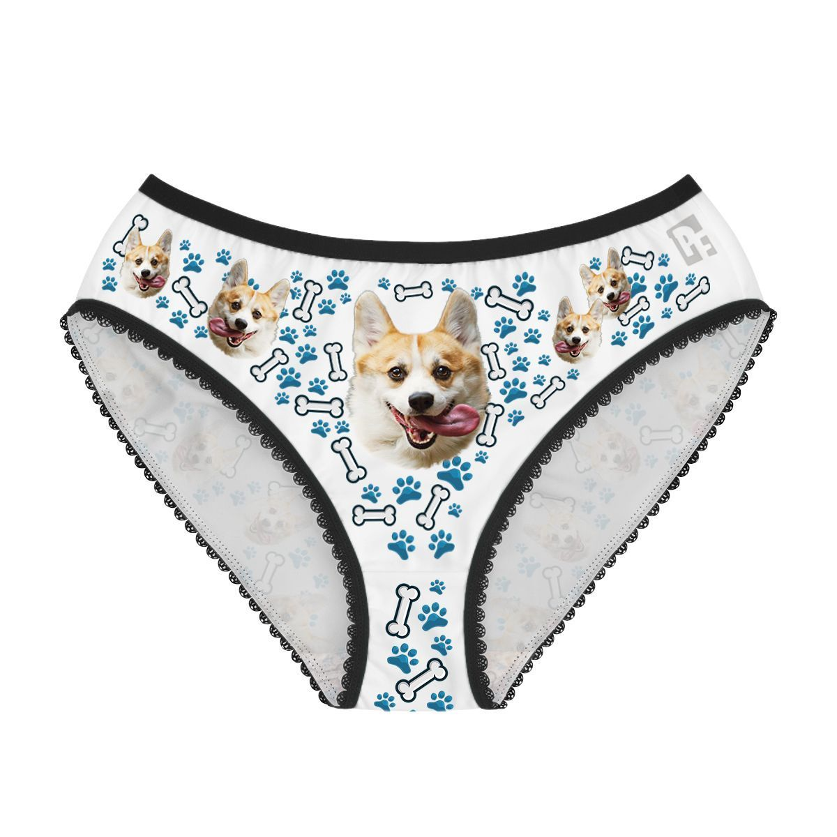 Blue Dog women's underwear briefs personalized with photo printed on them