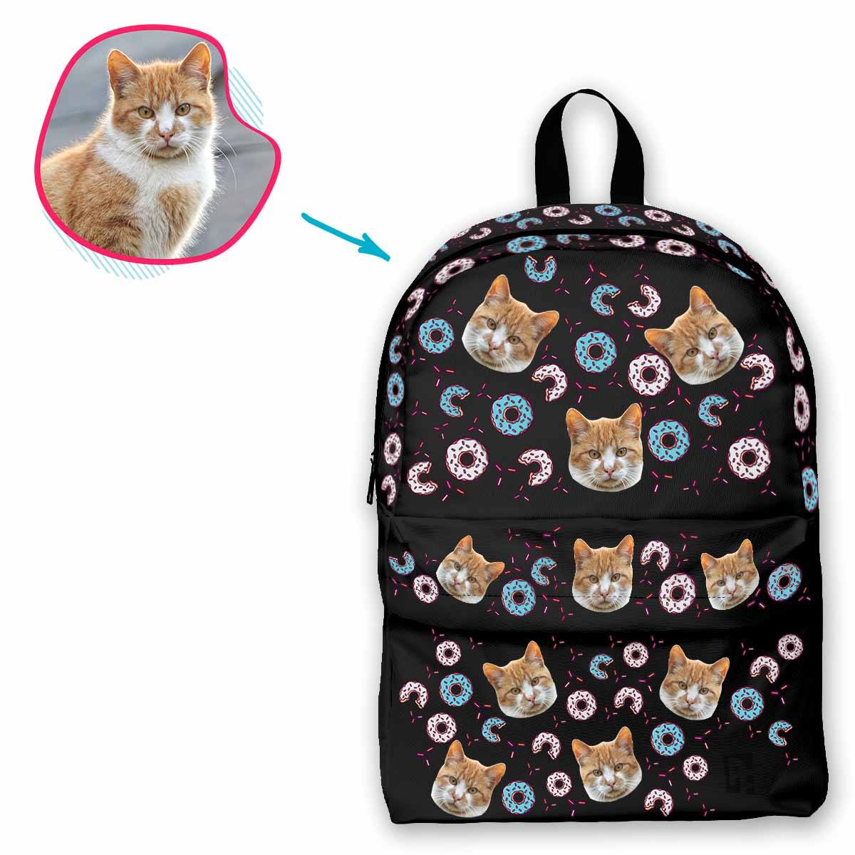 dark Donuts classic backpack personalized with photo of face printed on it