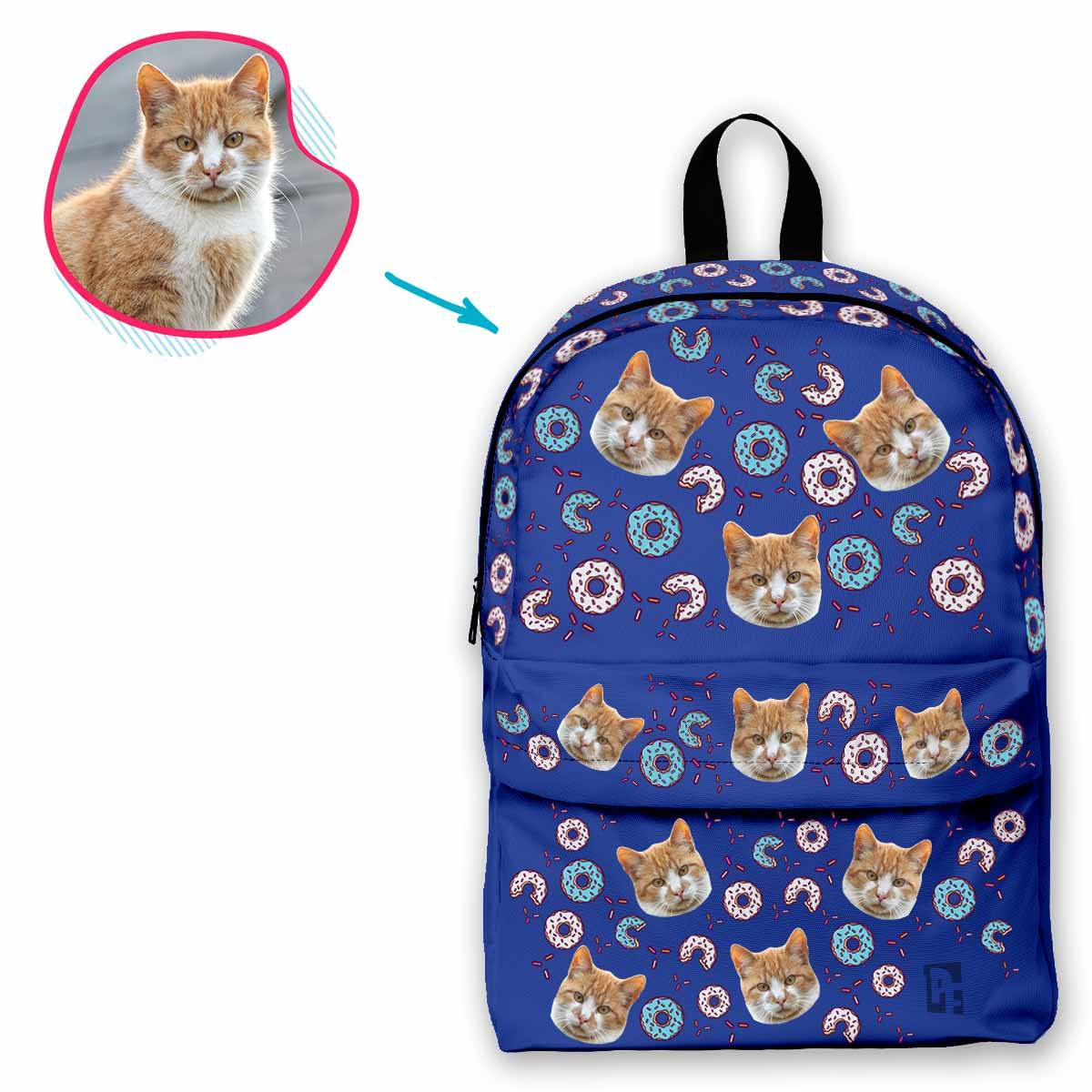 darkblue Donuts classic backpack personalized with photo of face printed on it