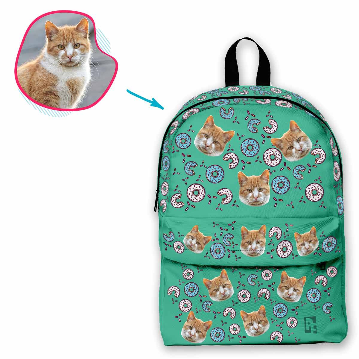 mint Donuts classic backpack personalized with photo of face printed on it
