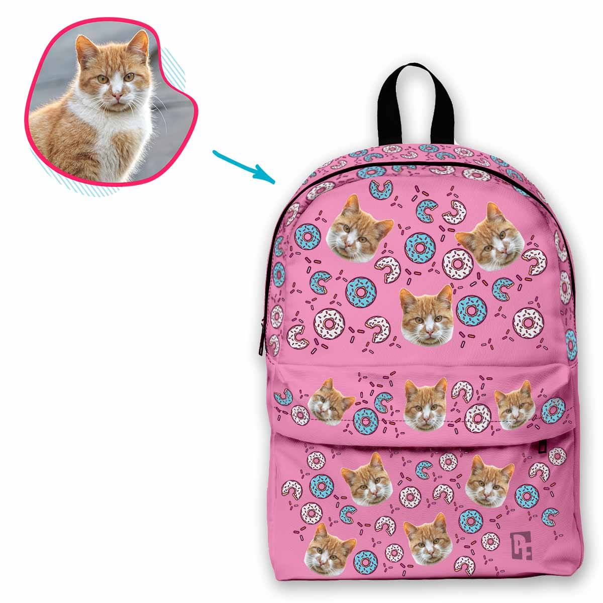 pink Donuts classic backpack personalized with photo of face printed on it