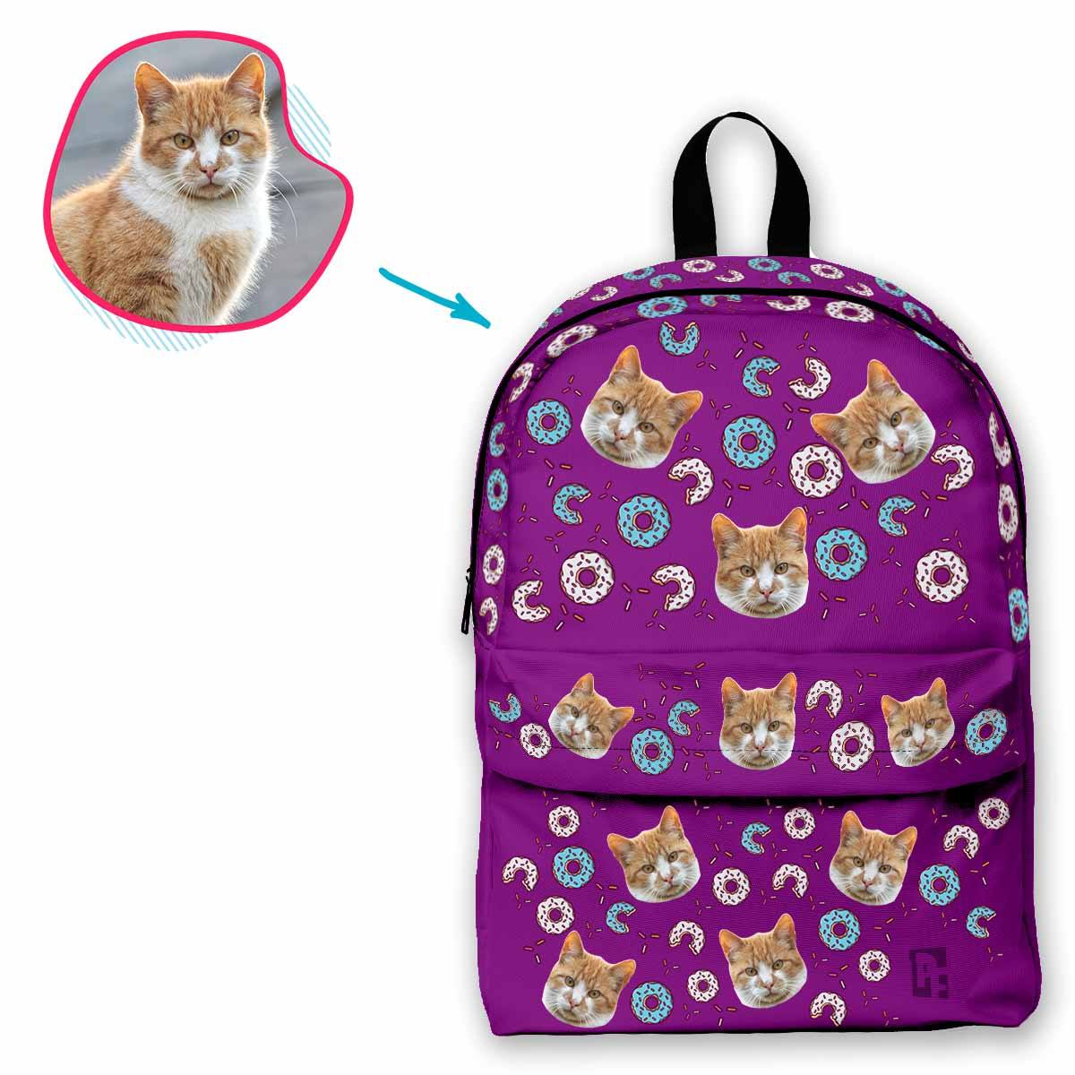 purple Donuts classic backpack personalized with photo of face printed on it