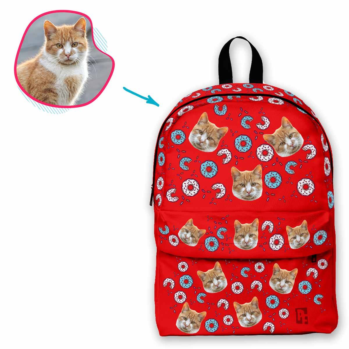red Donuts classic backpack personalized with photo of face printed on it
