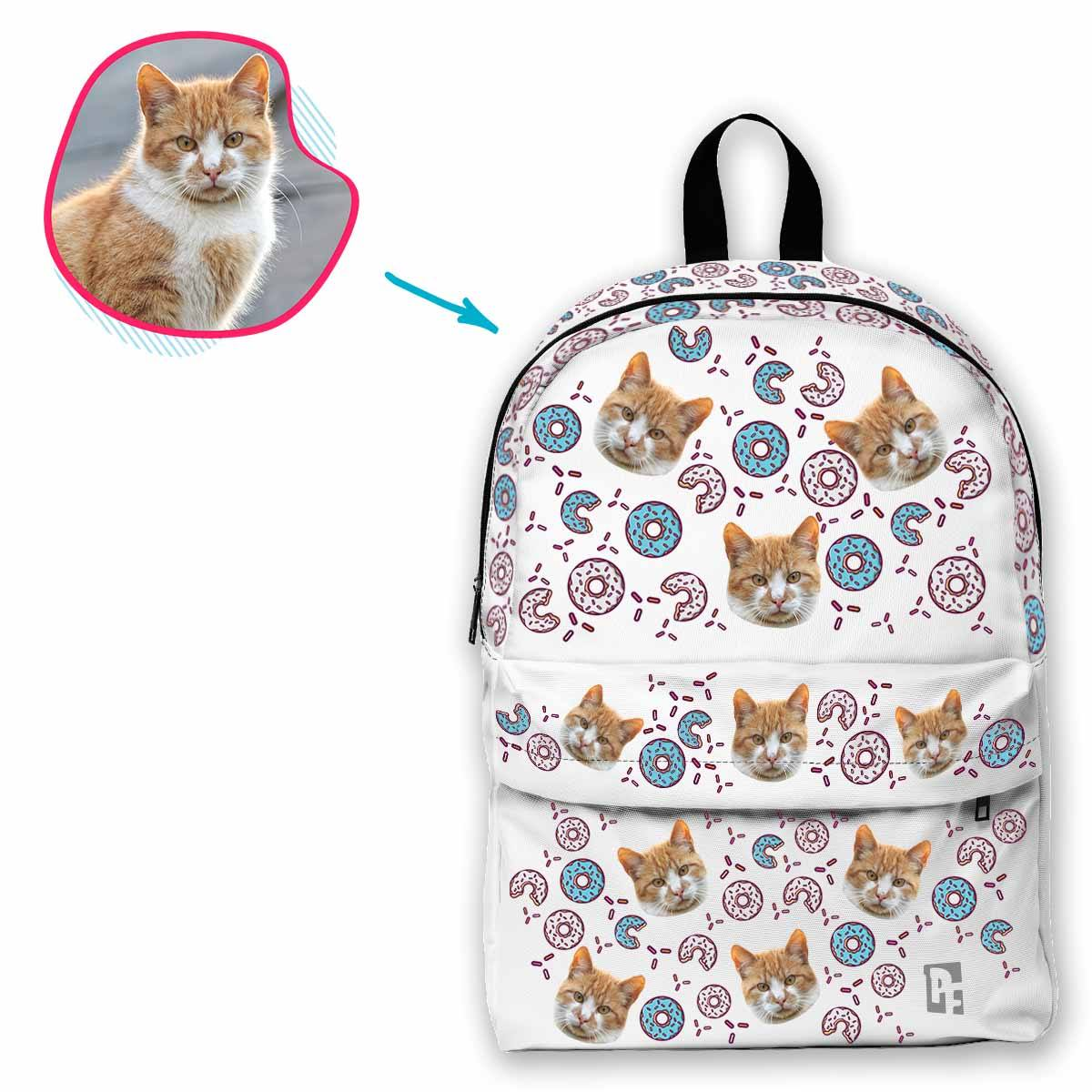 white Donuts classic backpack personalized with photo of face printed on it