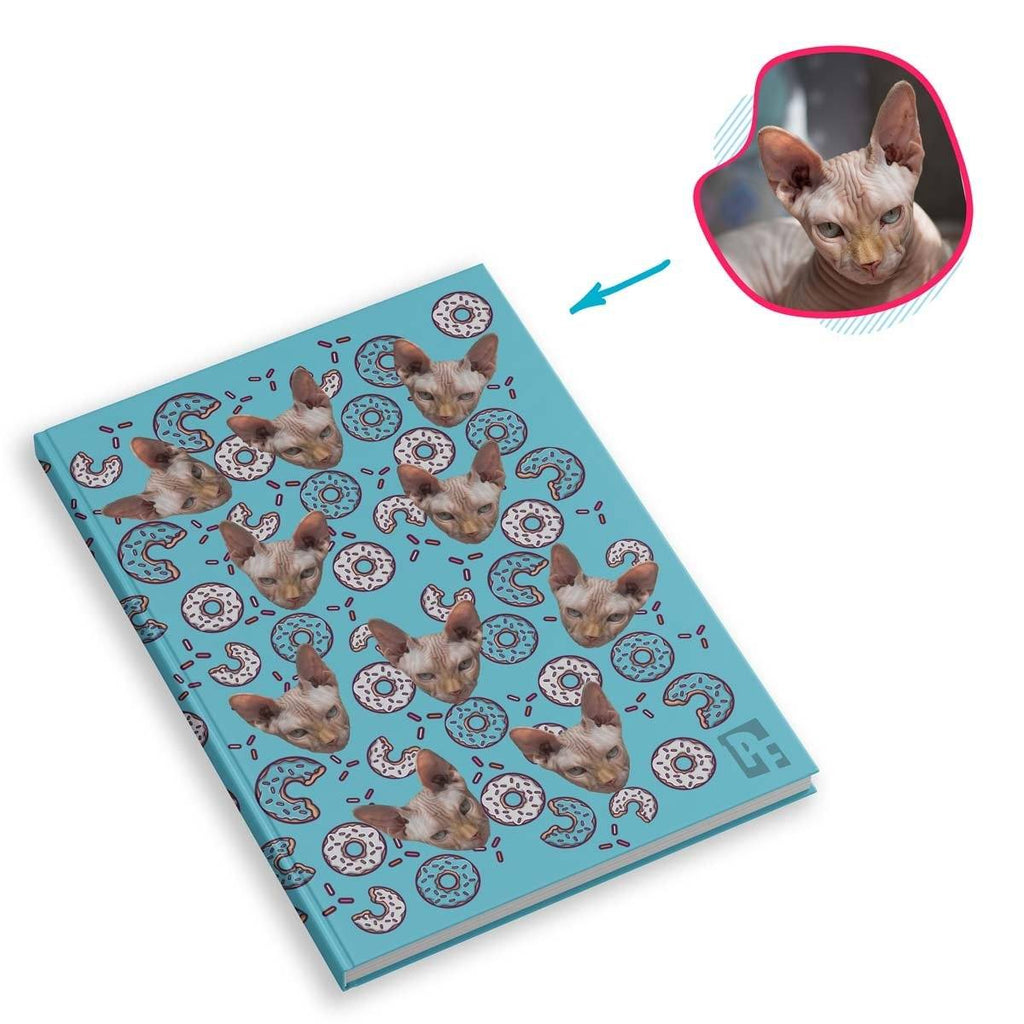 blue Donuts Notebook personalized with photo of face printed on them