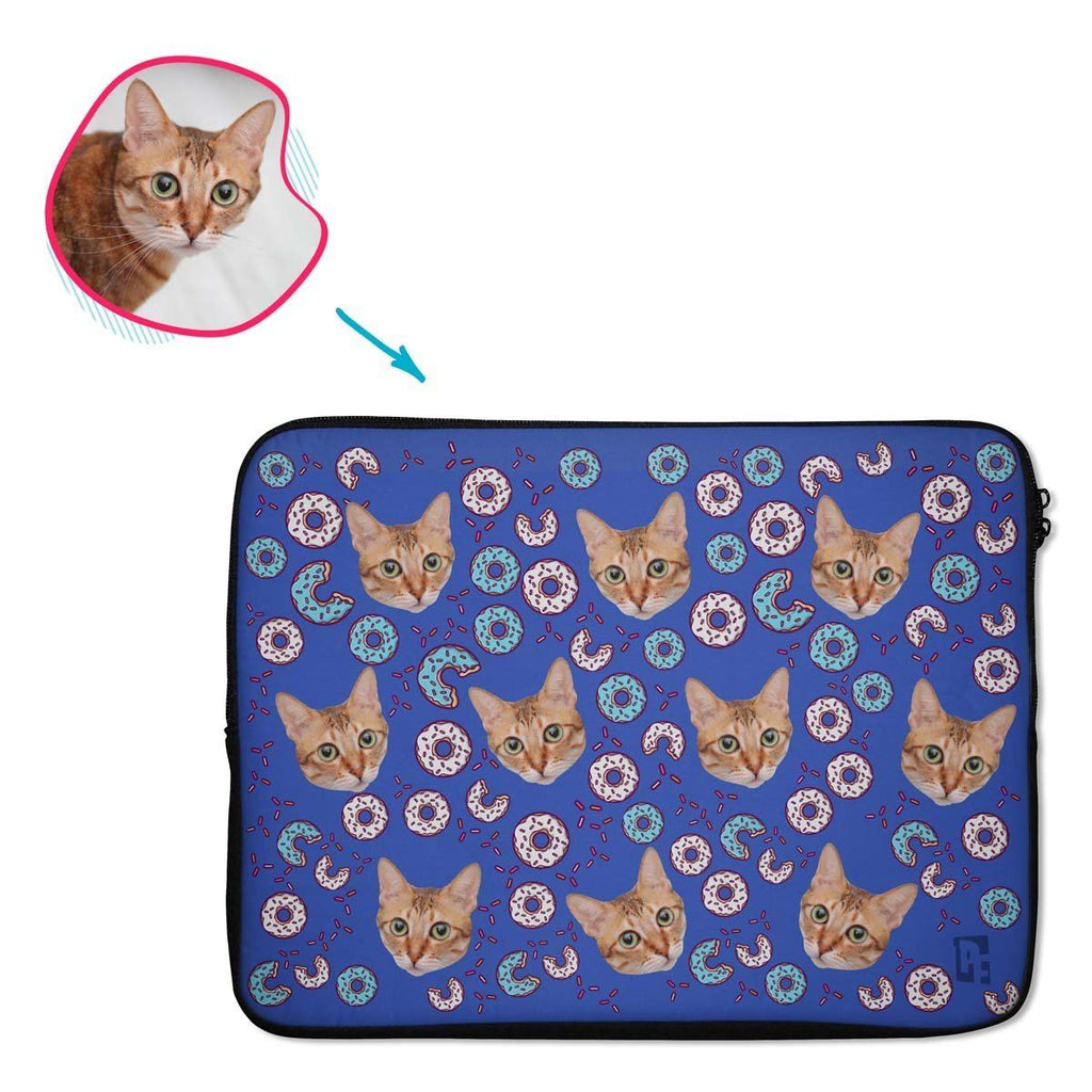 darkblue Donuts laptop sleeve personalized with photo of face printed on them