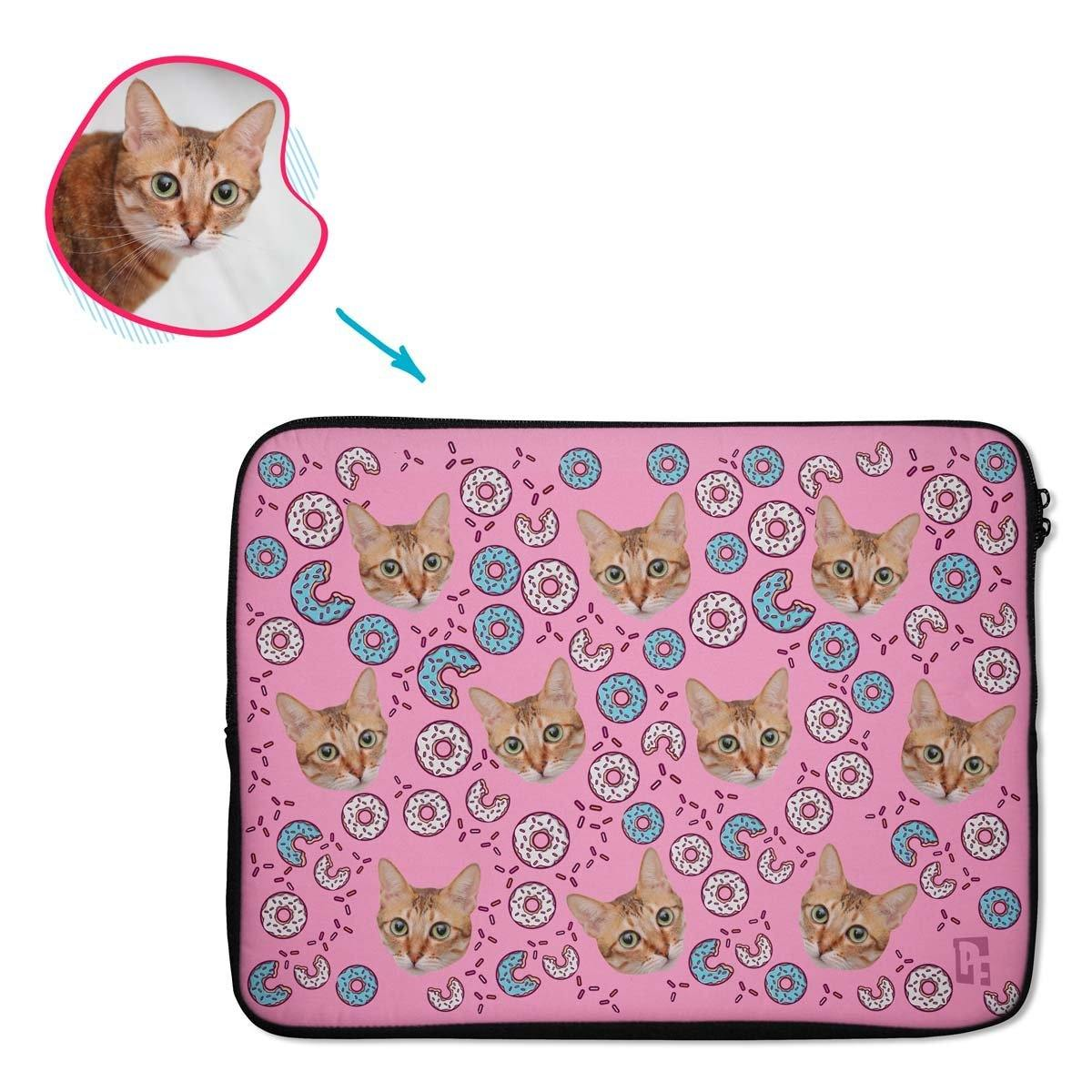 pink Donuts laptop sleeve personalized with photo of face printed on them
