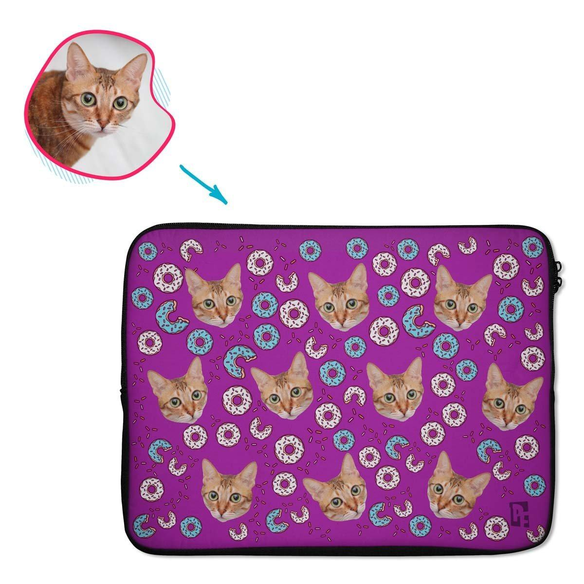 purple Donuts laptop sleeve personalized with photo of face printed on them