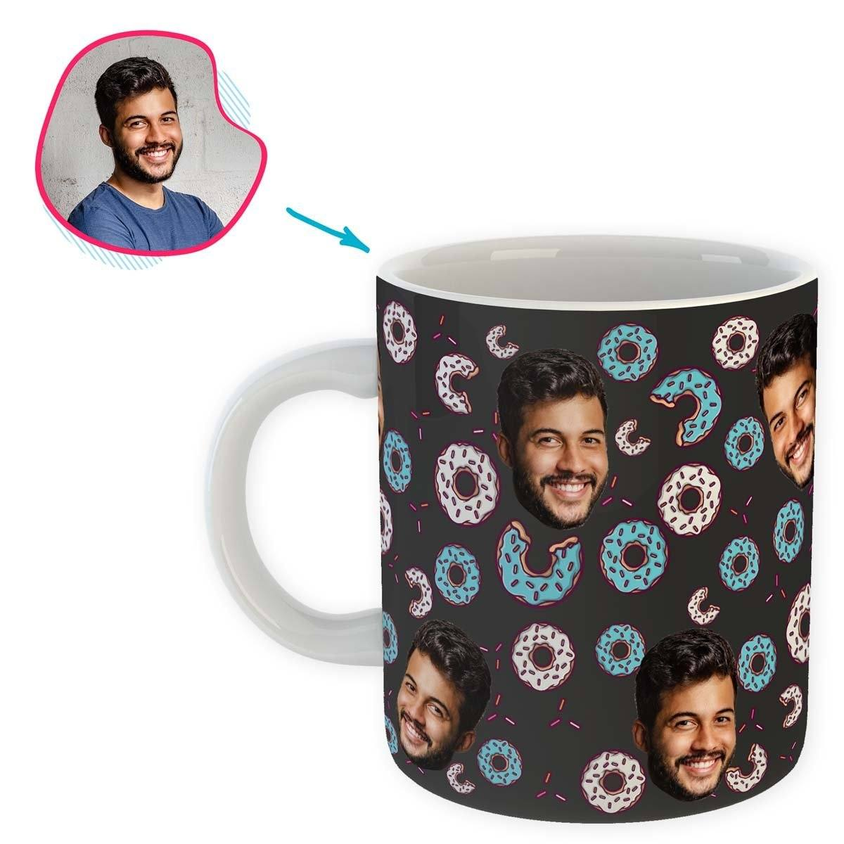 dark Donuts mug personalized with photo of face printed on it
