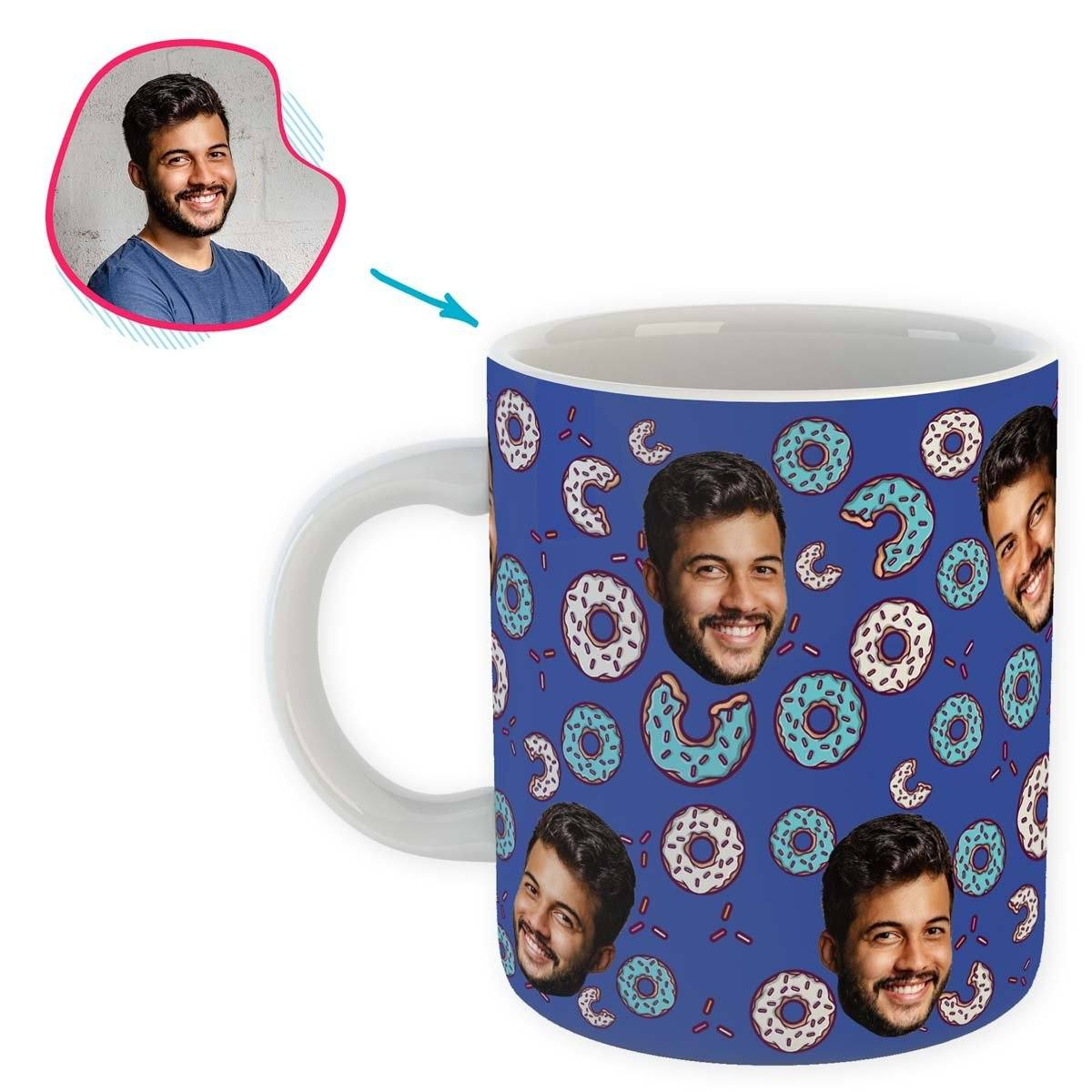 darkblue Donuts mug personalized with photo of face printed on it