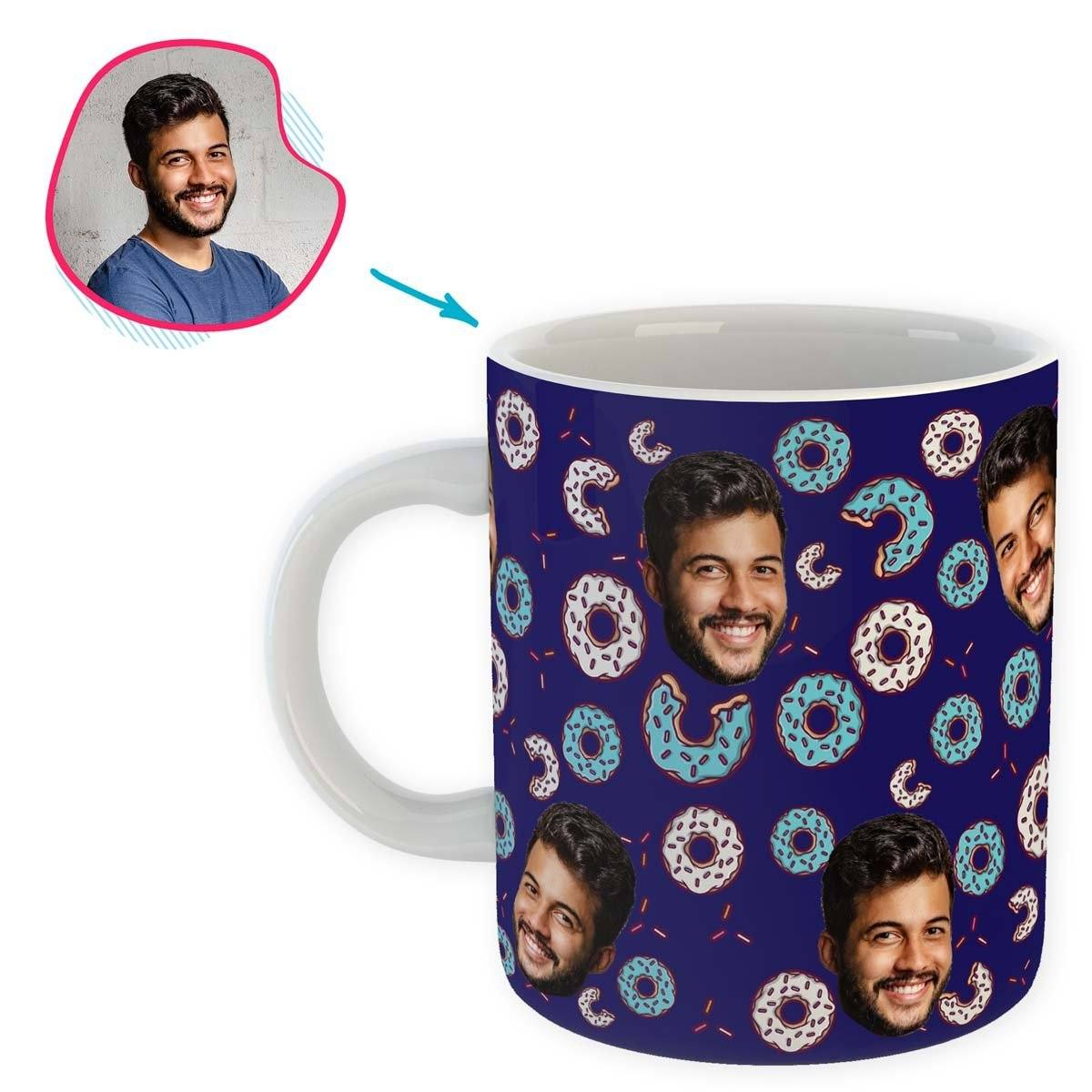 navy Donuts mug personalized with photo of face printed on it