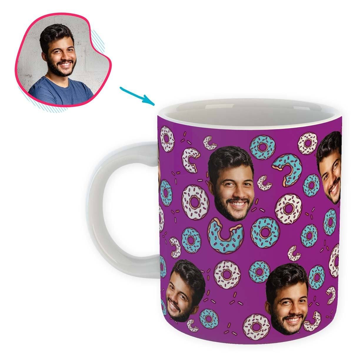purple Donuts mug personalized with photo of face printed on it