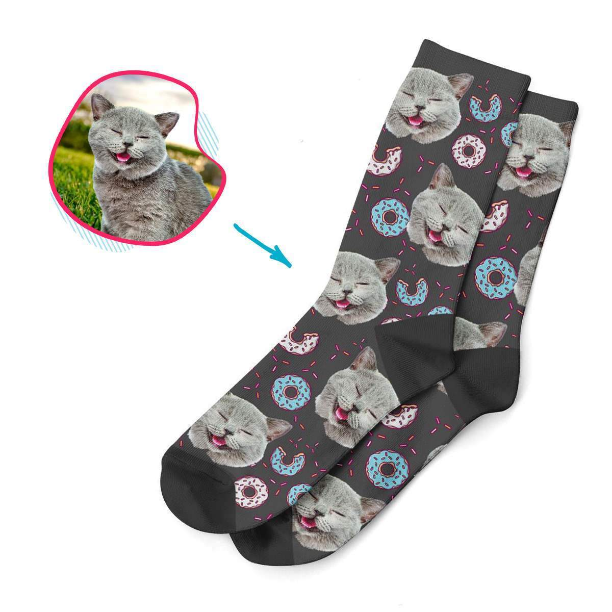 dark Donuts socks personalized with photo of face printed on them