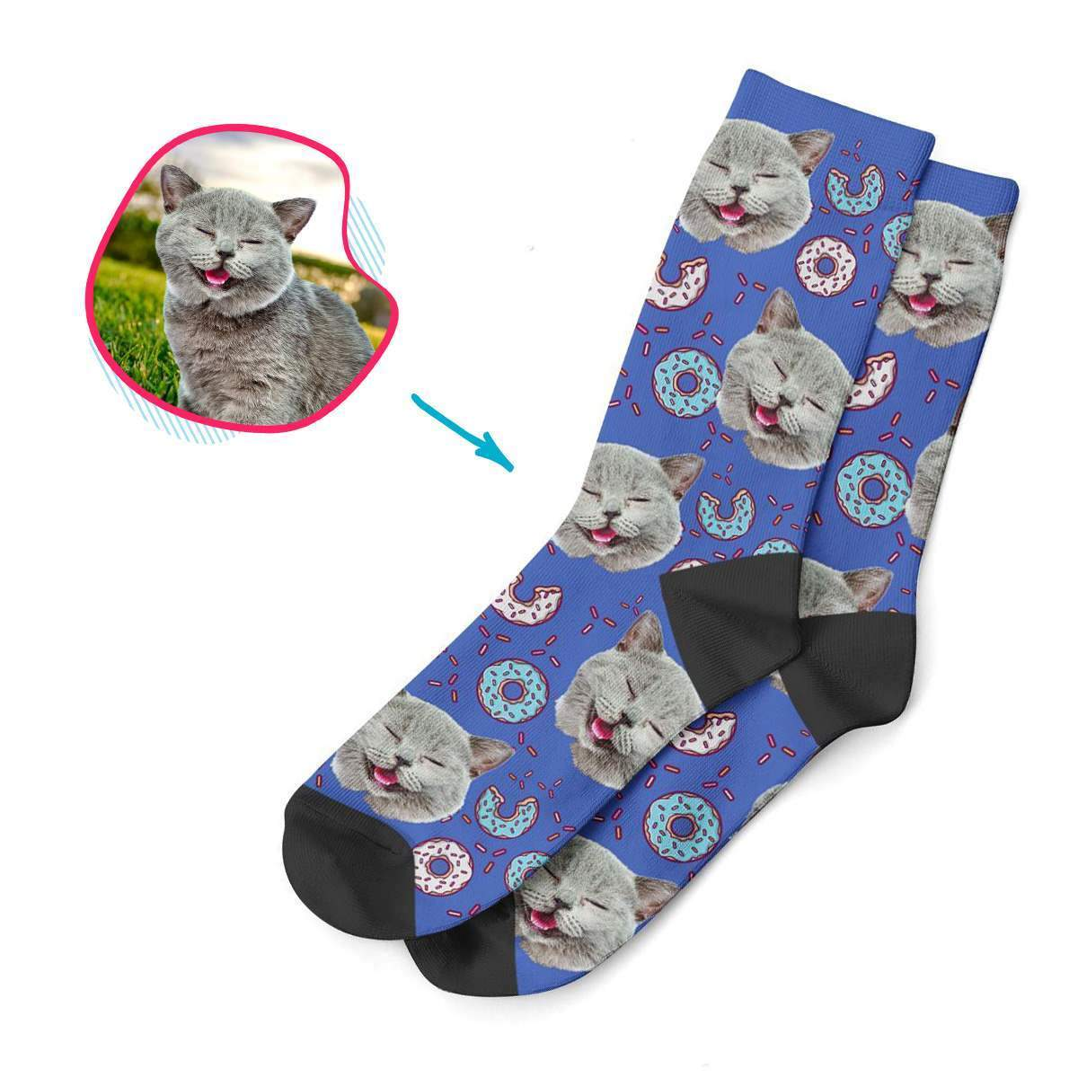 darkblue Donuts socks personalized with photo of face printed on them