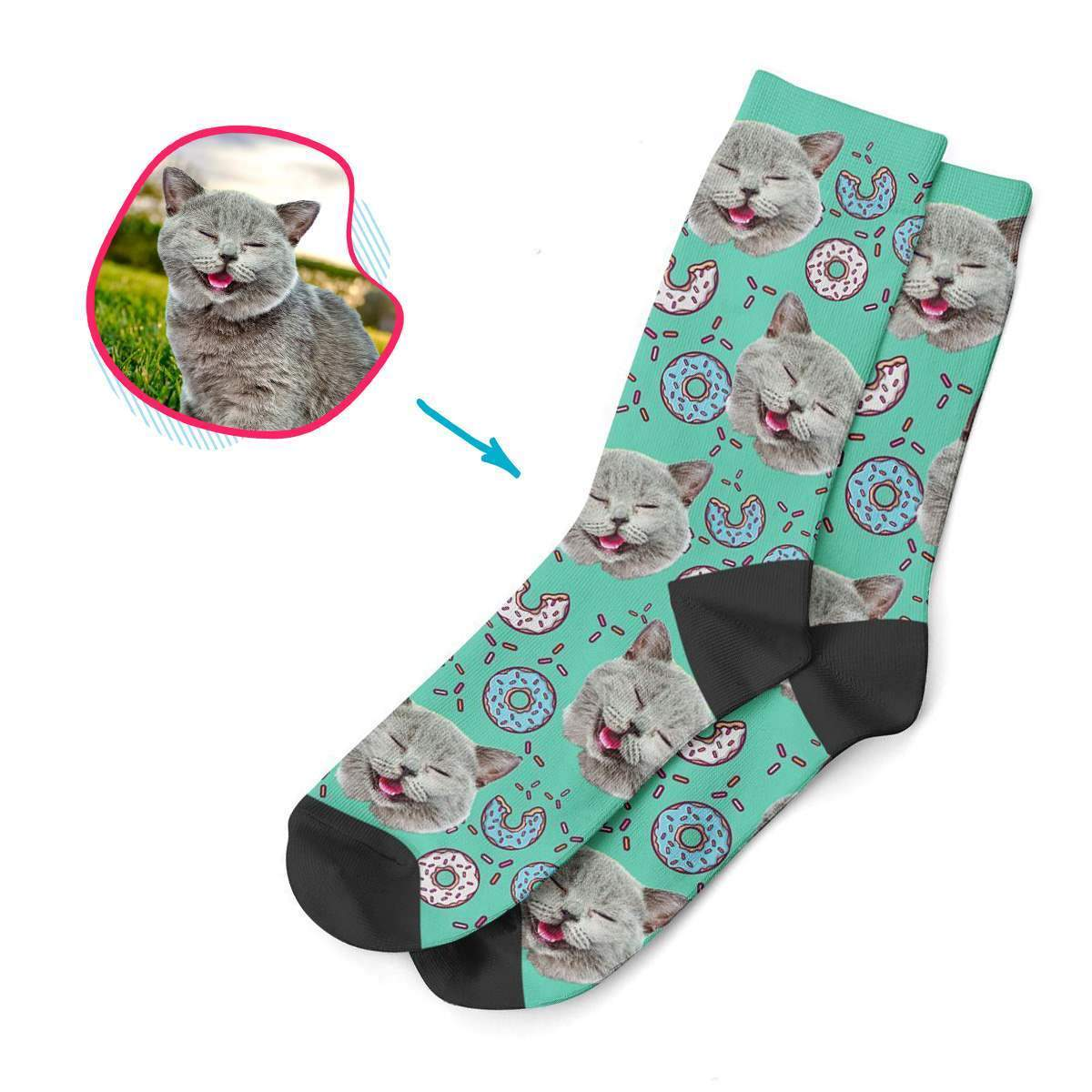mint Donuts socks personalized with photo of face printed on them