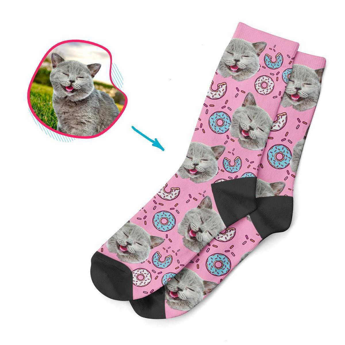 pink Donuts socks personalized with photo of face printed on them