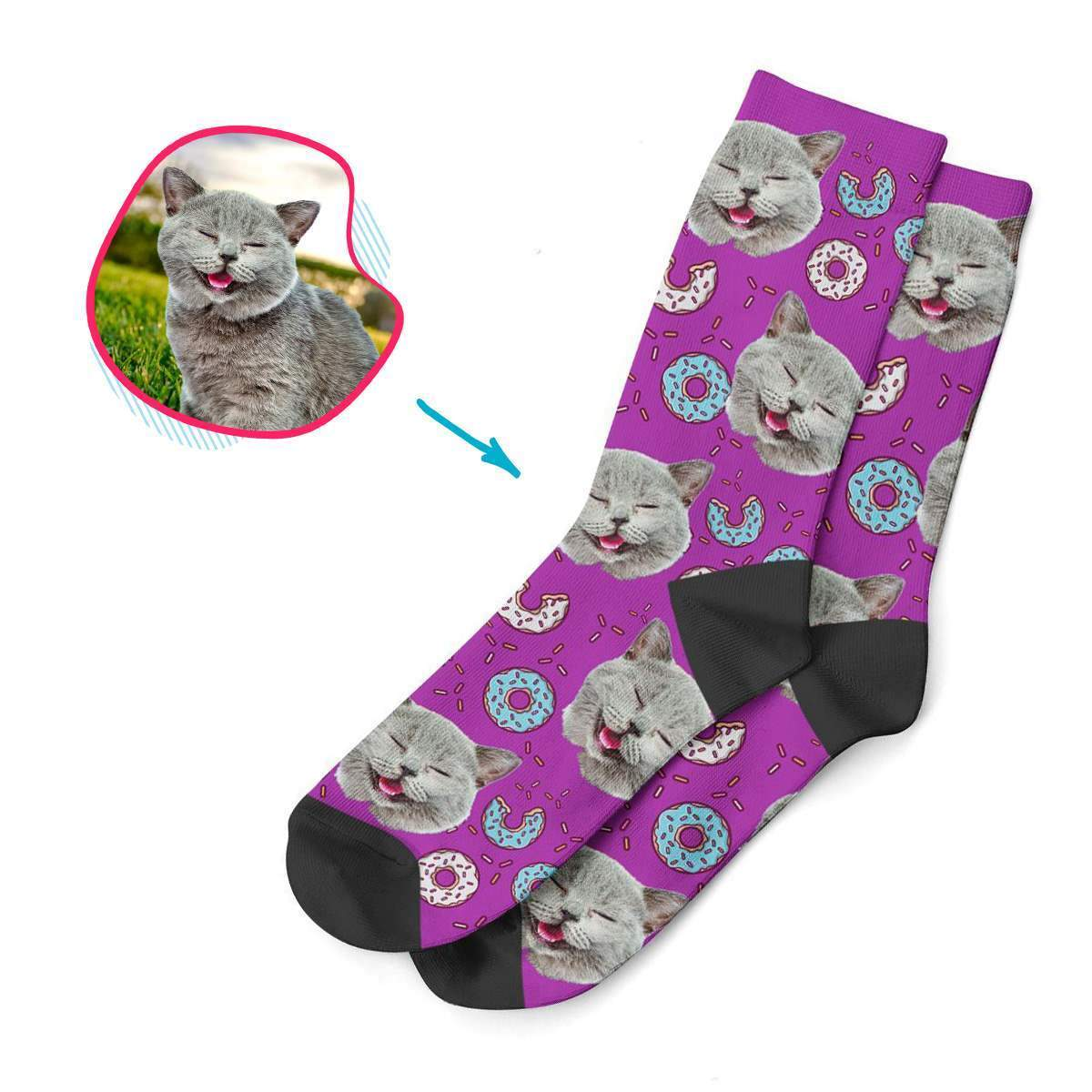 purple Donuts socks personalized with photo of face printed on them
