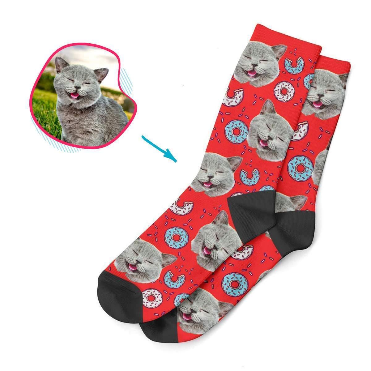 red Donuts socks personalized with photo of face printed on them