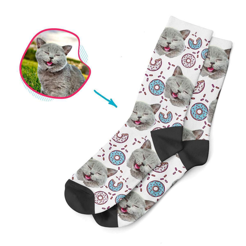 white Donuts socks personalized with photo of face printed on them