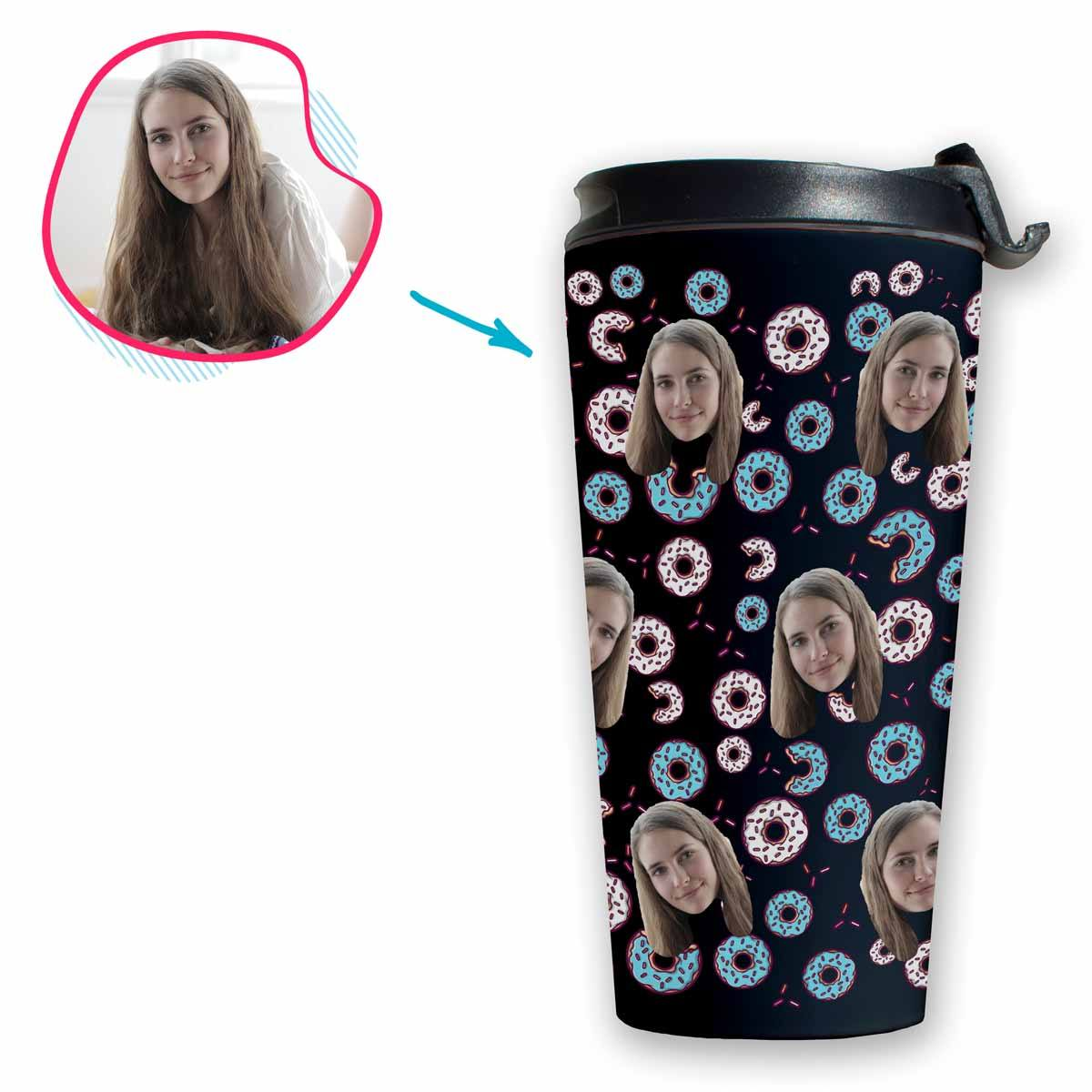 dark Donuts travel mug personalized with photo of face printed on it