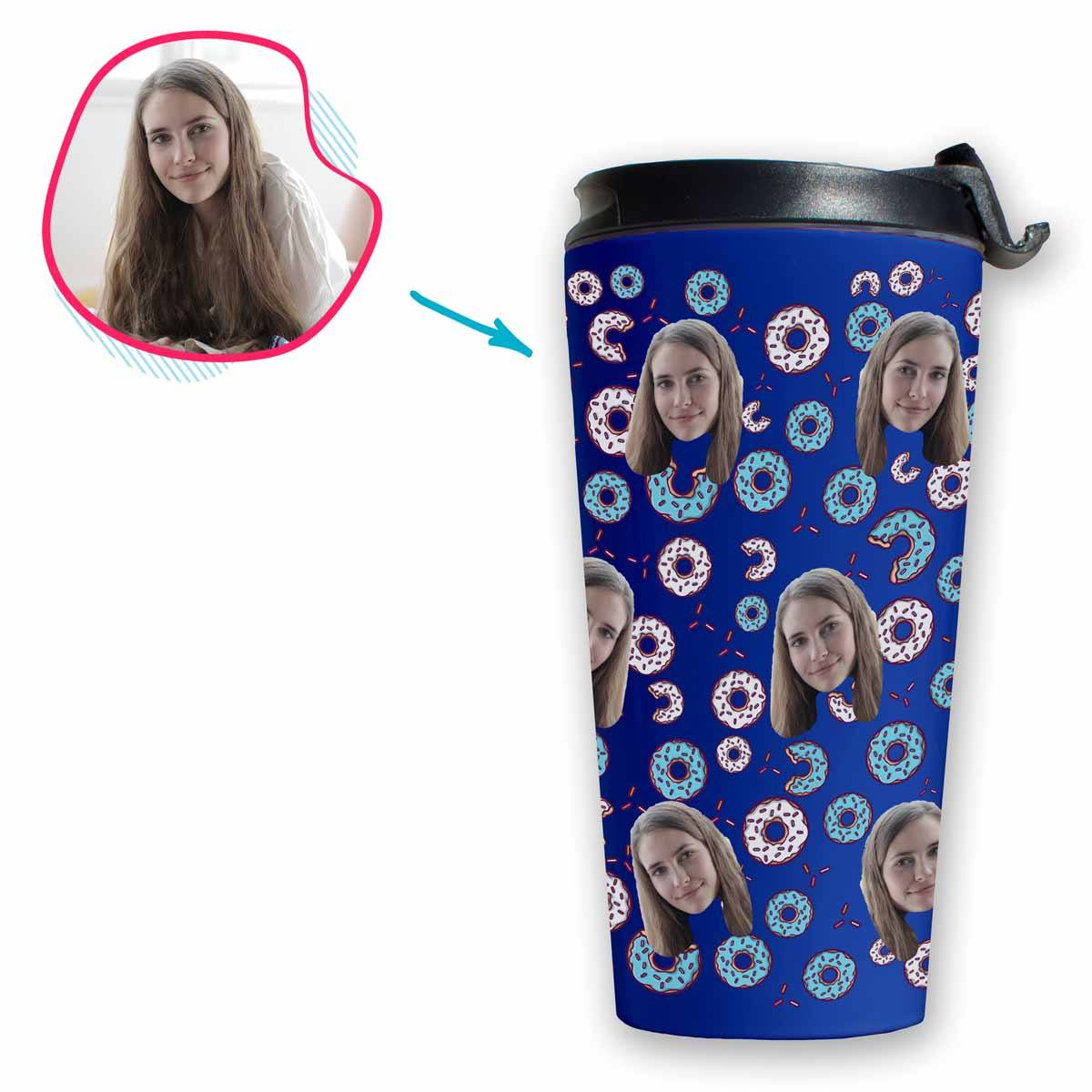 darkblue Donuts travel mug personalized with photo of face printed on it
