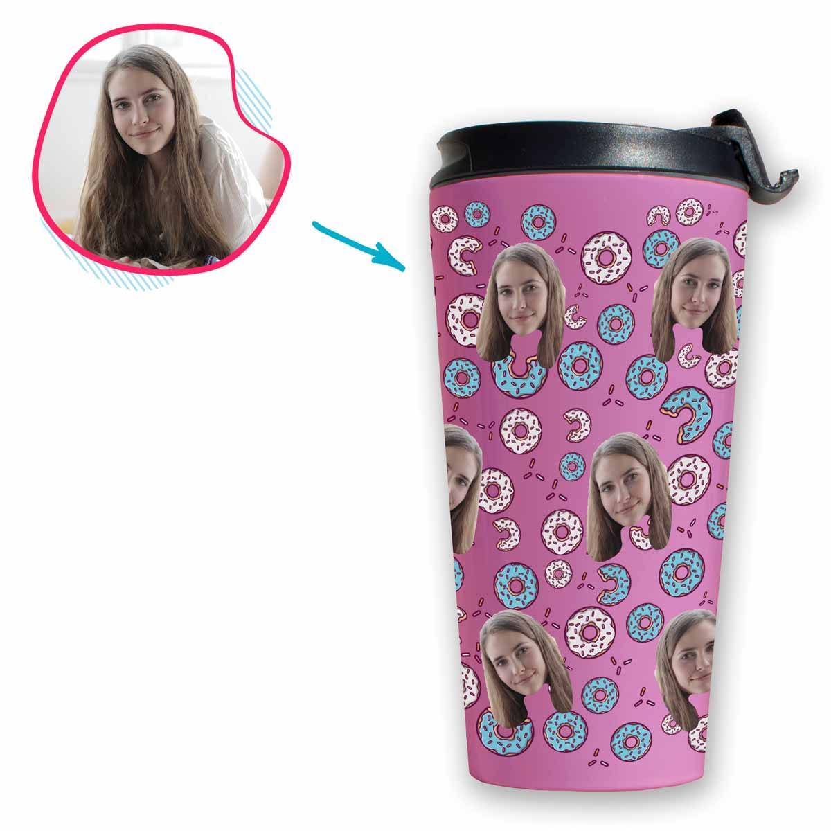pink Donuts travel mug personalized with photo of face printed on it