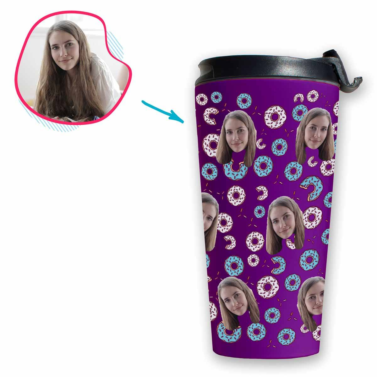 purple Donuts travel mug personalized with photo of face printed on it