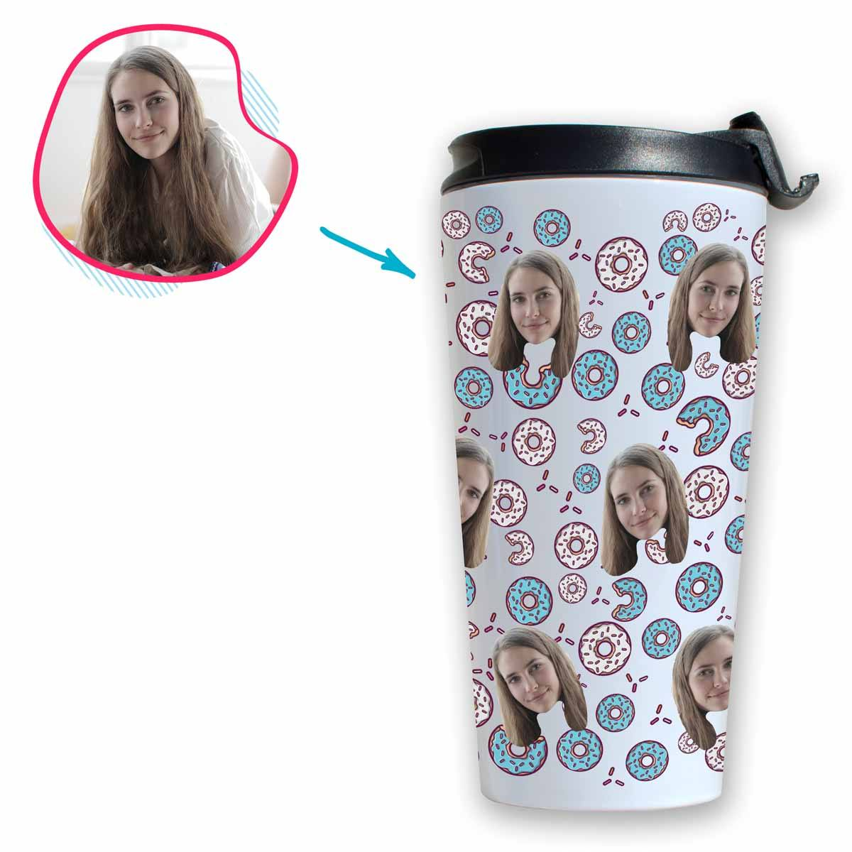 white Donuts travel mug personalized with photo of face printed on it