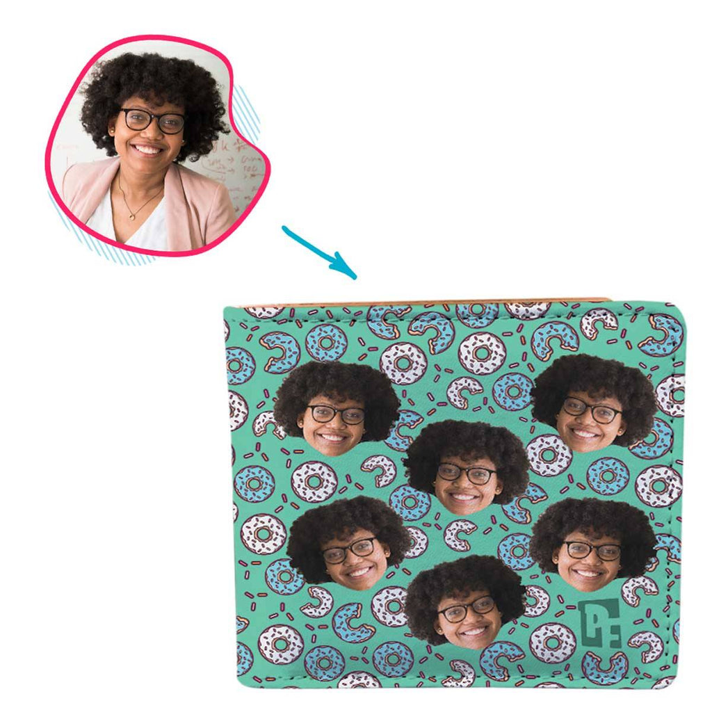 mint Donuts wallet personalized with photo of face printed on it