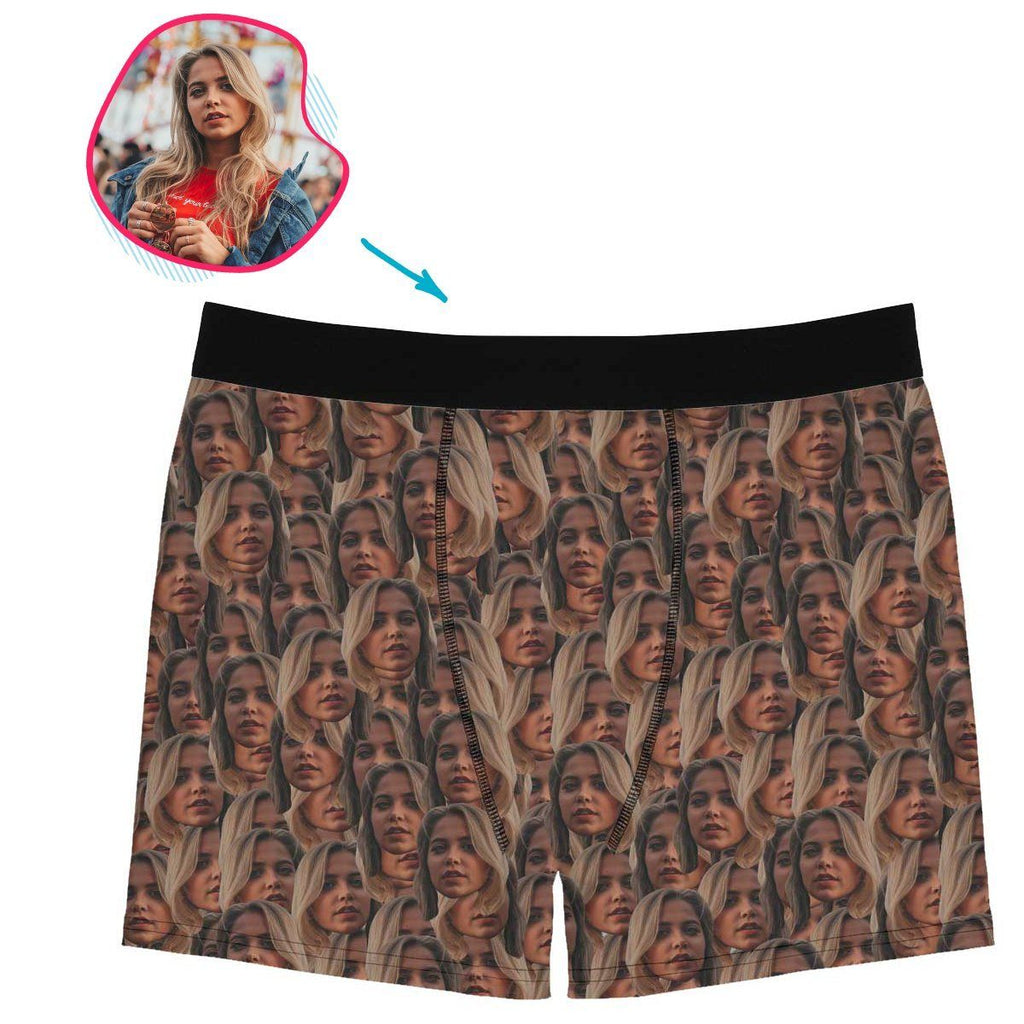 face mash men's boxers personalized with photo of face printed on it