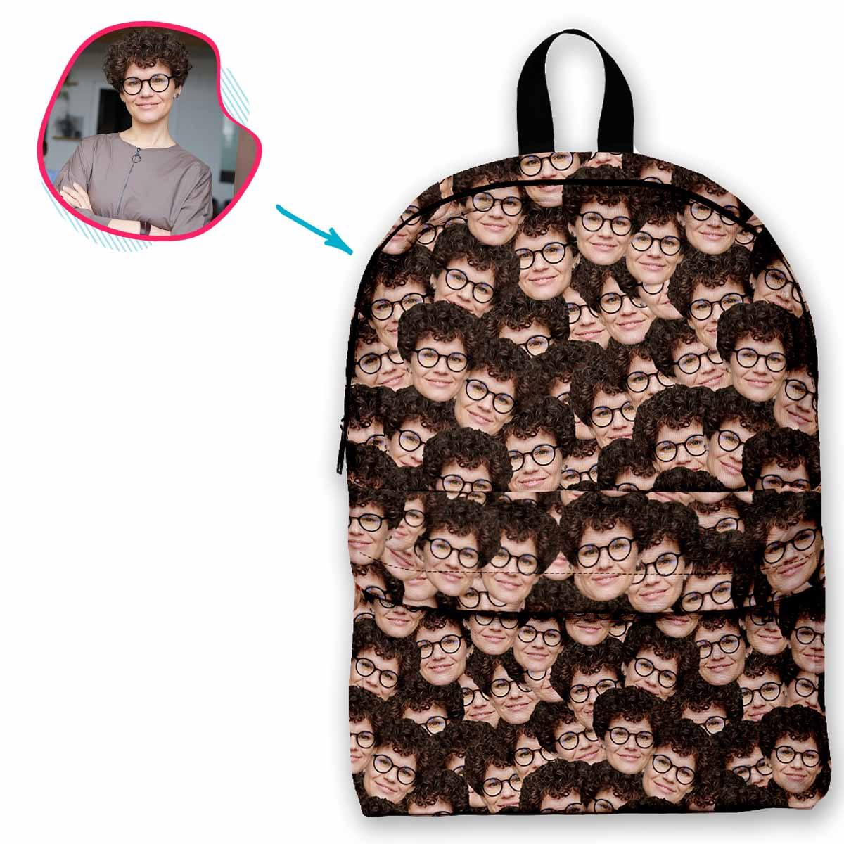 face mash classic backpack personalized with photo of face printed on it