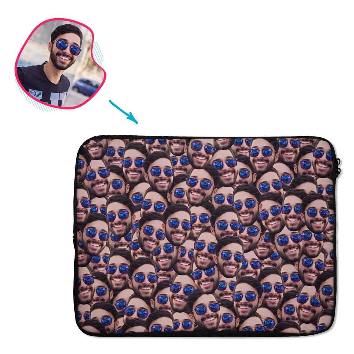 Face Mash laptop sleeve personalized with photo of face printed on them