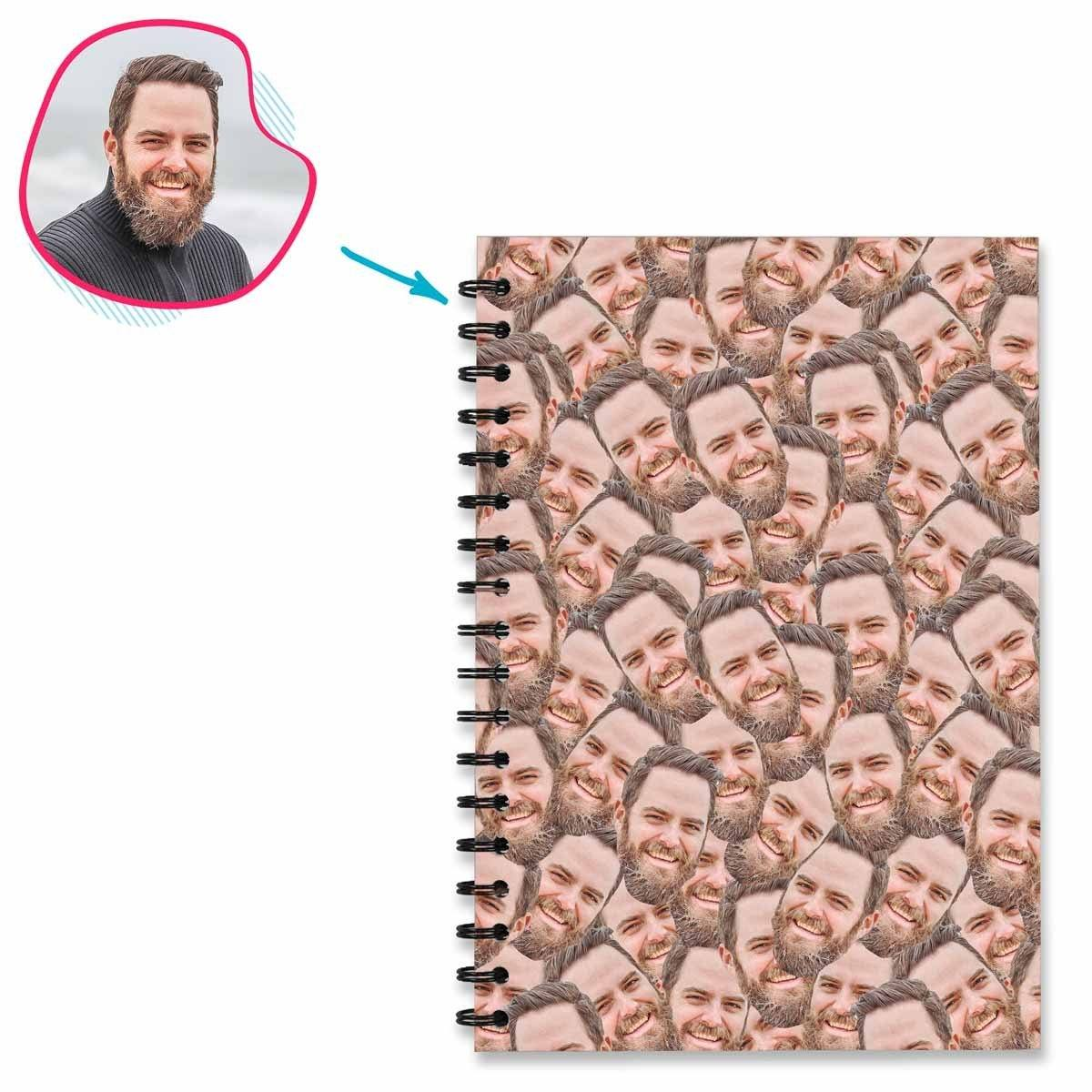 Face Mash Notebook personalized with photo of face printed on them