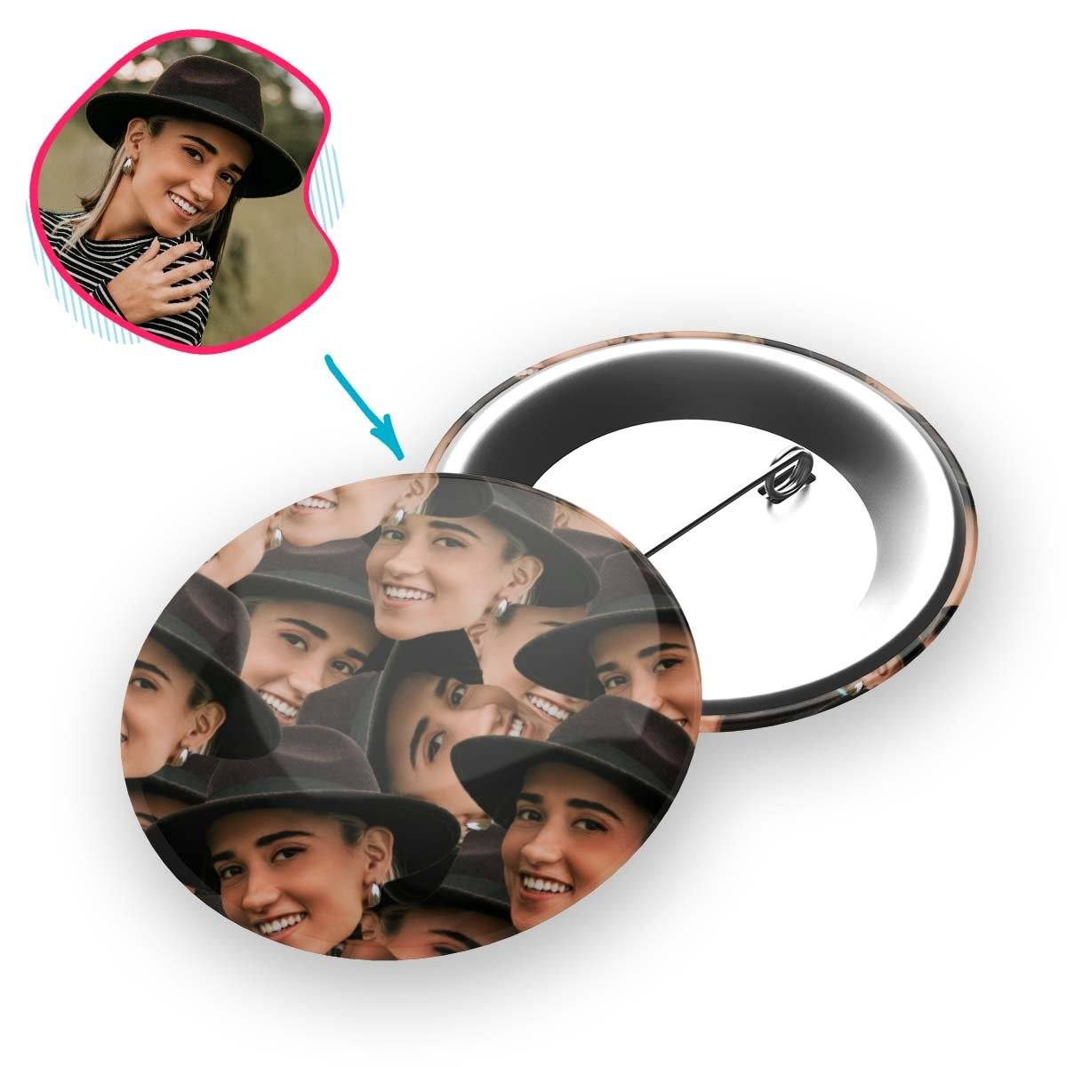 Face Mash pin personalized with photo of face printed on it