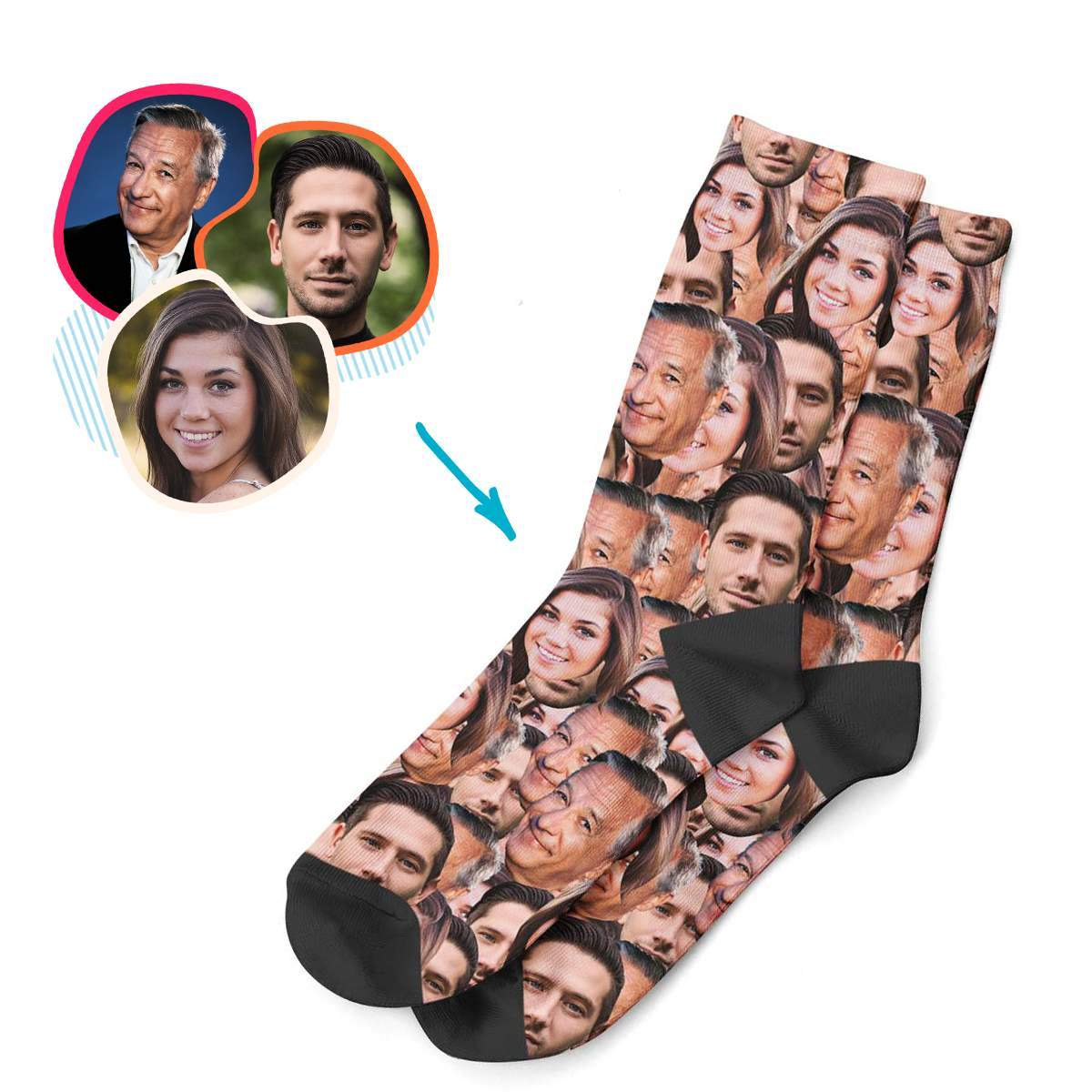 Face Mash socks personalized with photo of face printed on them